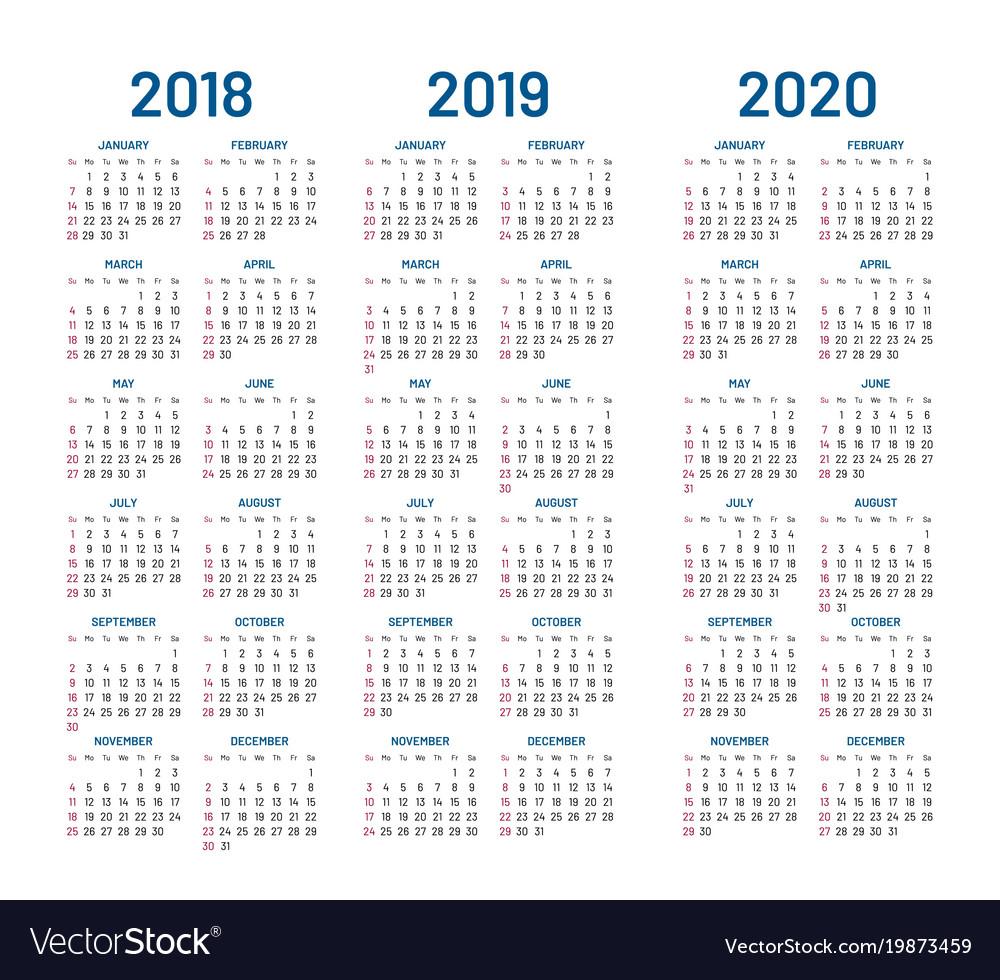 Year 2018 2019 2020 Calendar with Edit Free Calendar Template 2019-2020