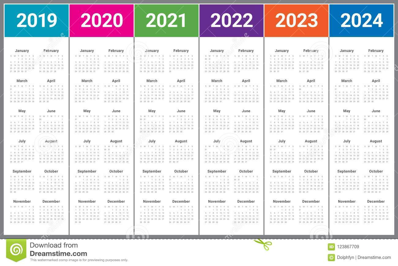 Year 2019 2020 2021 2022 2023 2024 Calendar Vector Design Template for Free Prinable Calenders 2020 To 2023