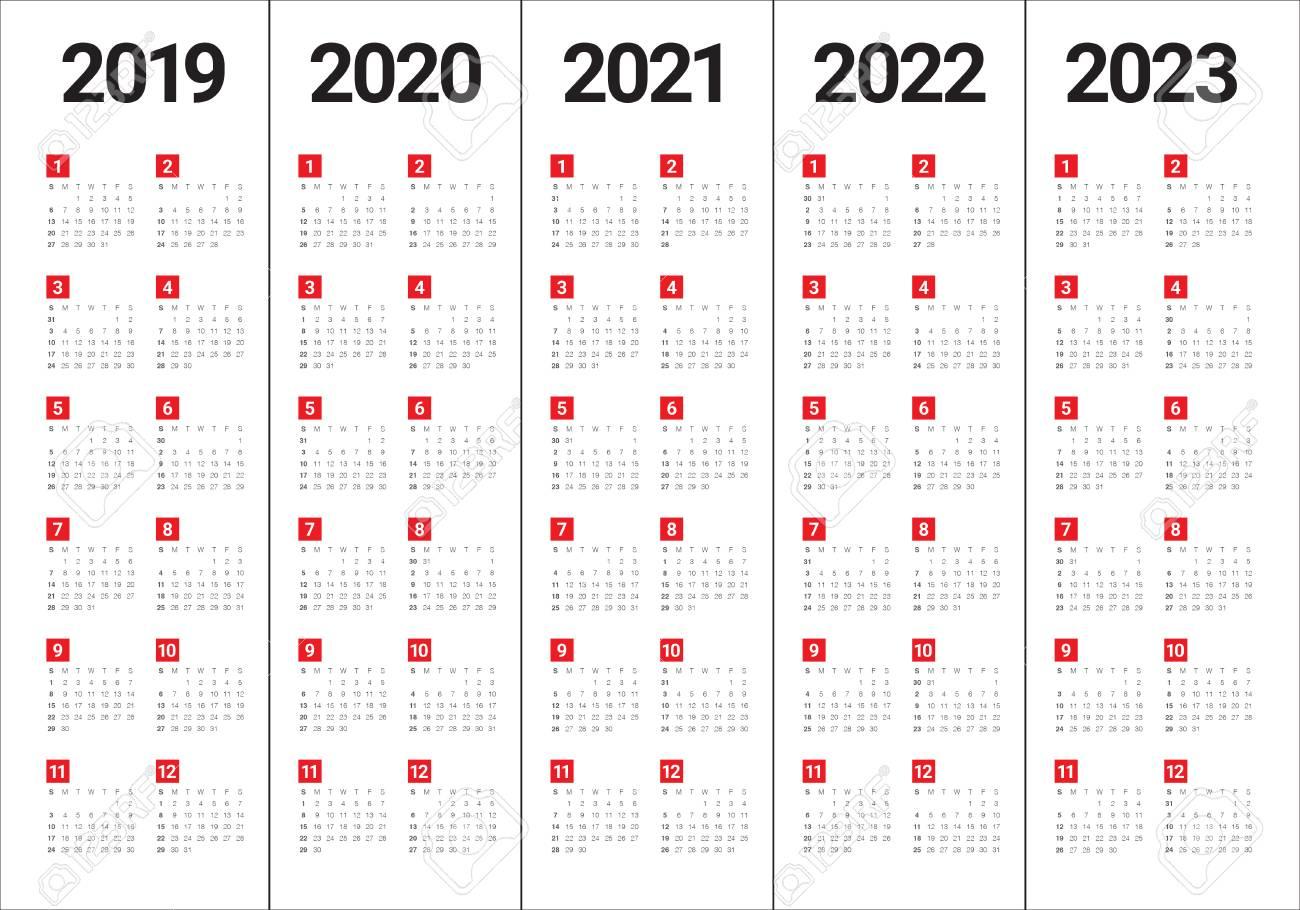 Year 2019 2020 2021 2022 2023 Calendar Vector Design Template,.. inside Print 2019 2020 2021 2022 2023 Calender