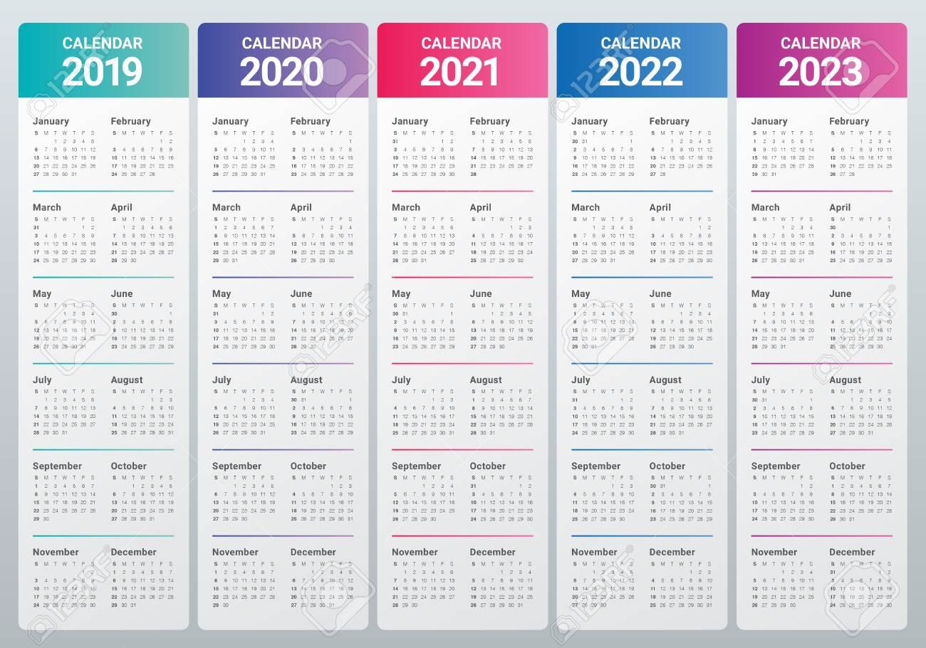 Year 2019 2020 2021 2022 2023 Calendar Vector Design Template,.. regarding Free Prinable Calenders 2020 To 2023