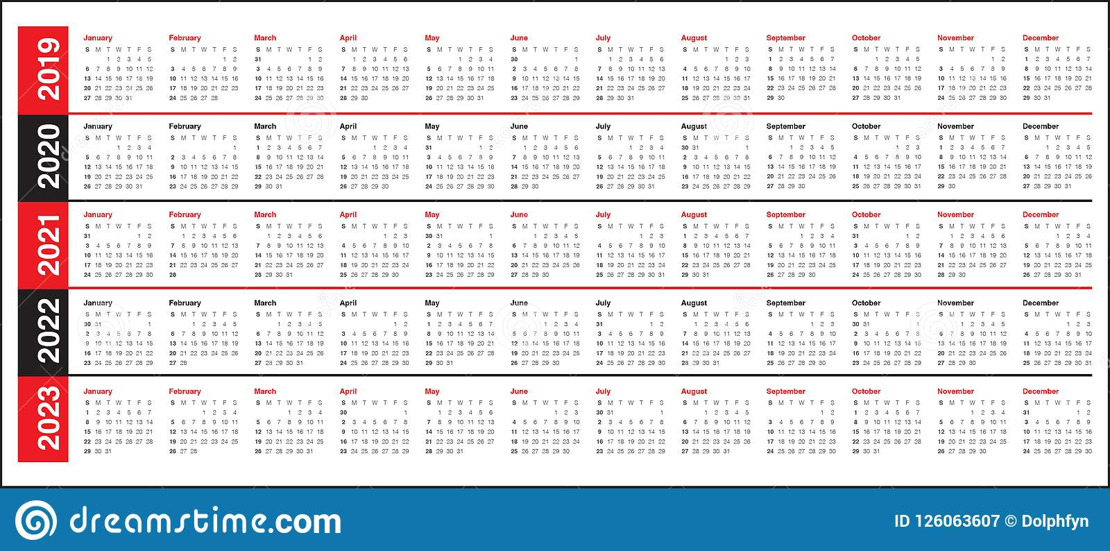 Year 2019 2020 2021 2022 2023 Calendar Vector Design Template Stock regarding Free Prinable Calenders 2020 To 2023
