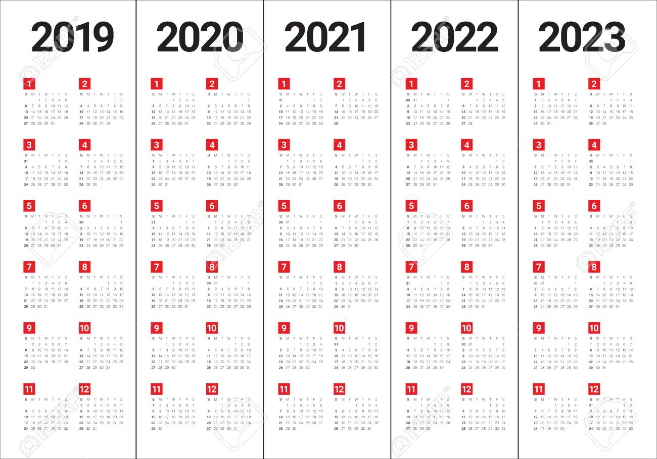 Year 2019 2020 2021 2022 2023 Calendar Vector Design Template,.. throughout Free Prinable Calenders 2020 To 2023