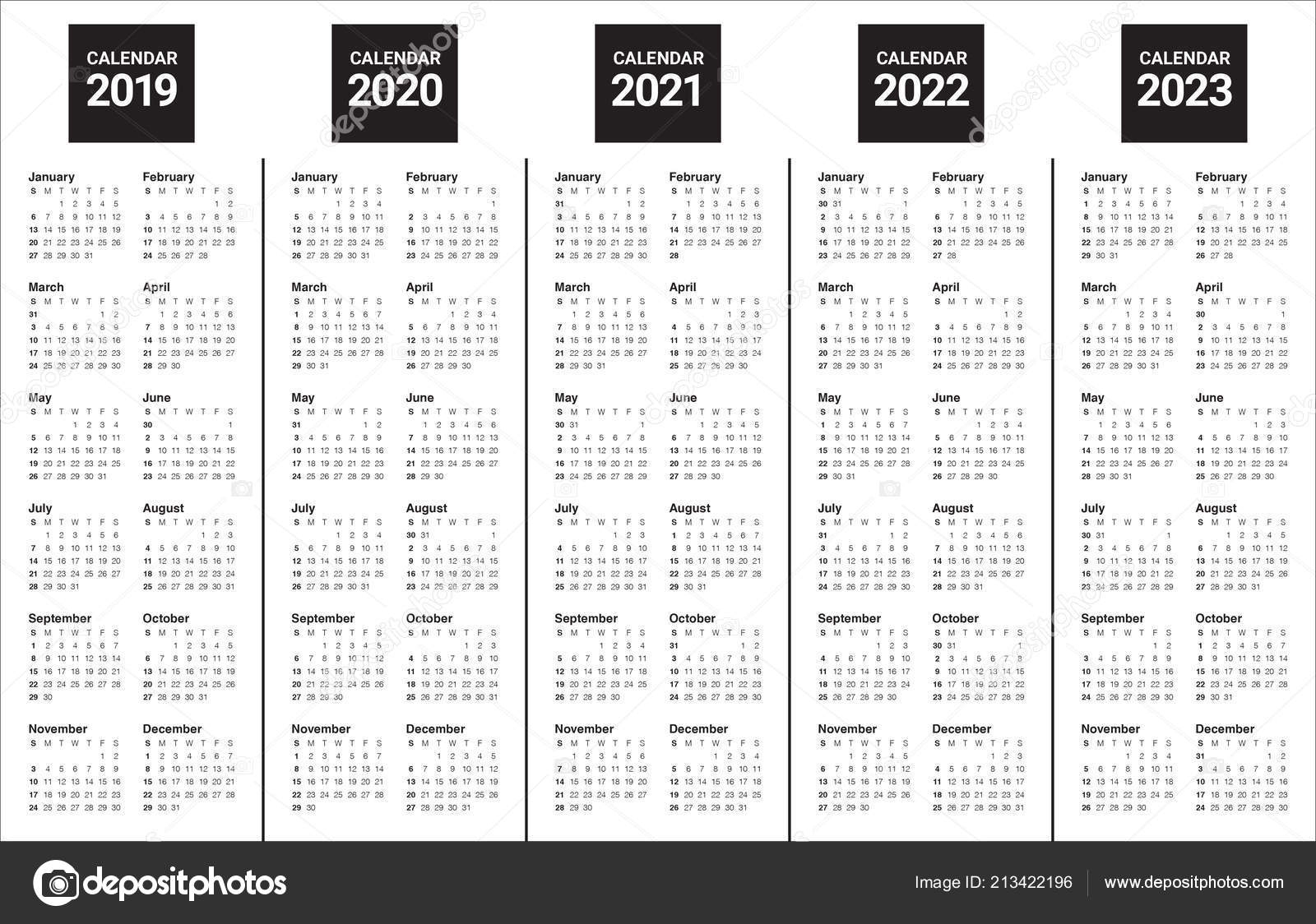 Year 2019 2020 2021 2022 2023 Calendar Vector Design Template within Free Prinable Calenders 2020 To 2023