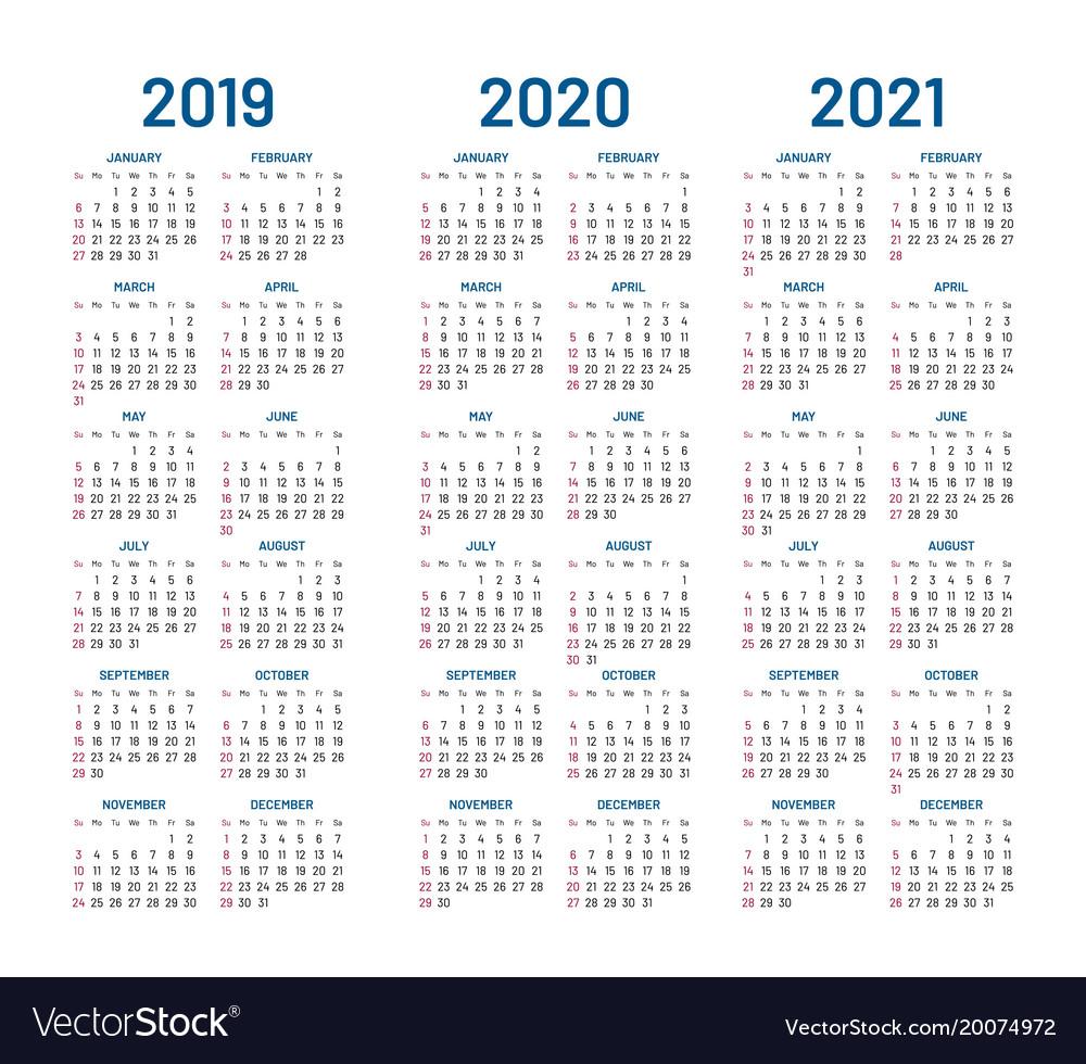 Year 2019 2020 2021 Calendar throughout Free Printable 3 Year Calendar 2019 2020 2021