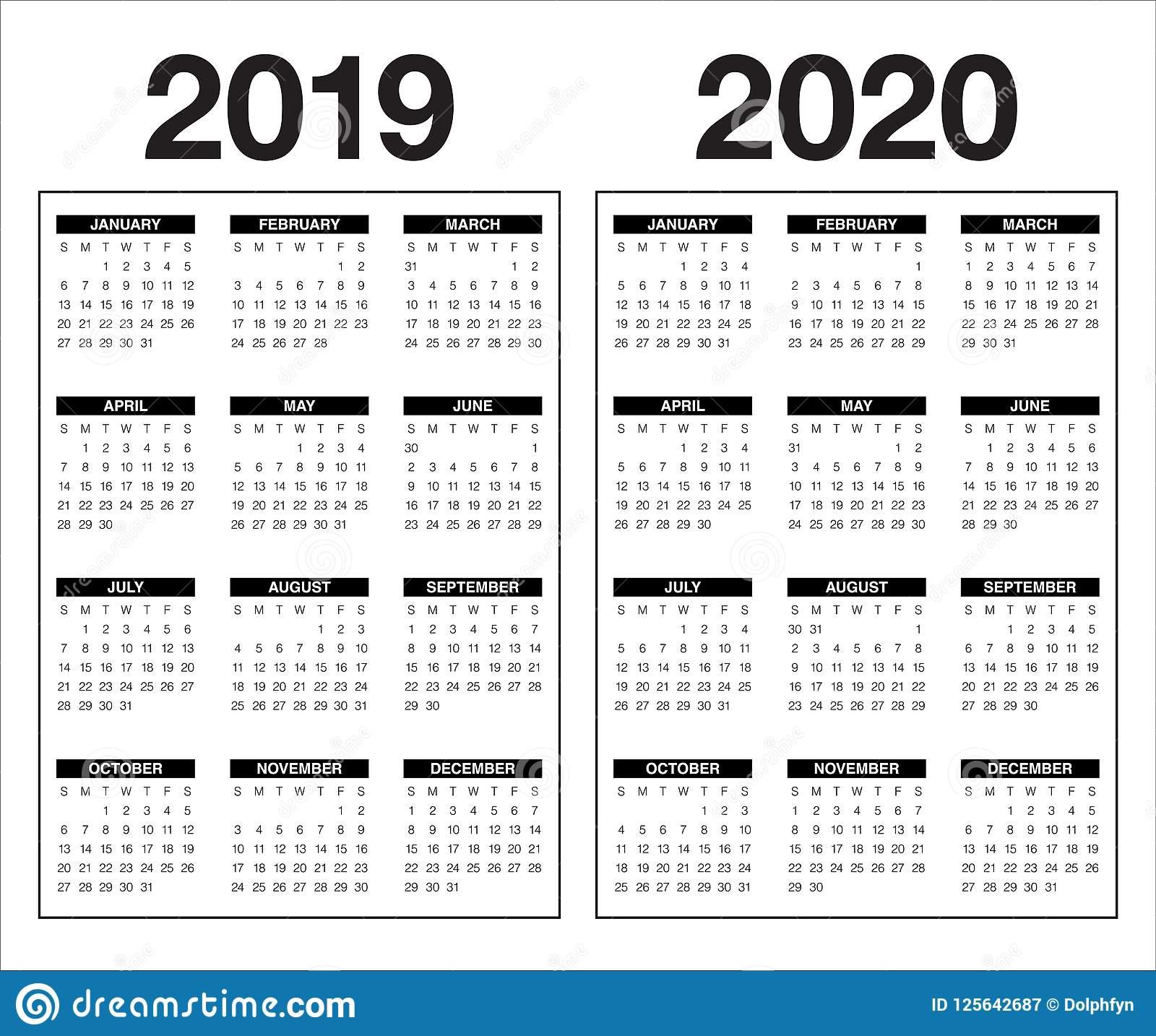 Year 2019 2020 Calendar Vector Design Template Stock Vector inside 2019/2020 Calander To Write On
