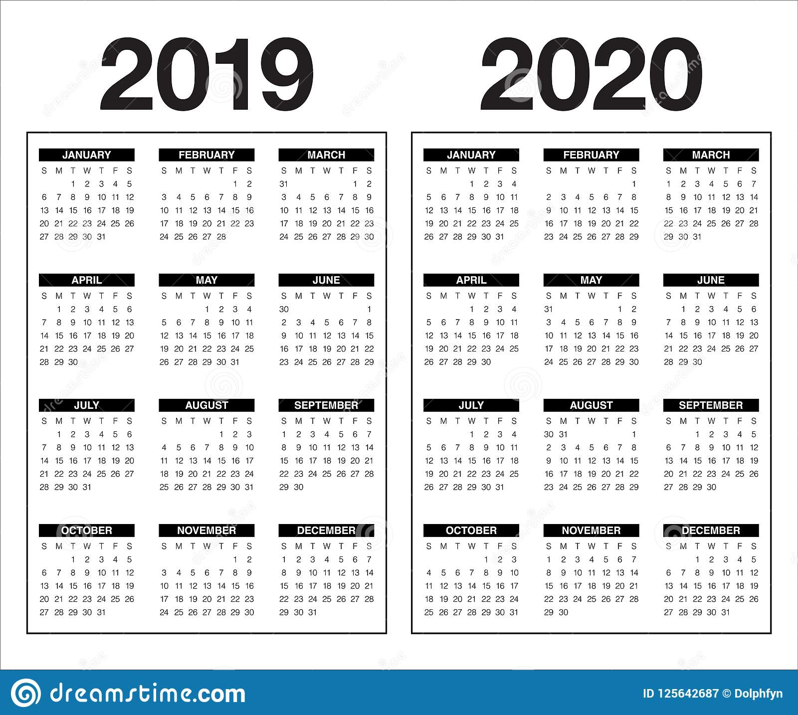 Year 2019 2020 Calendar Vector Design Template Stock Vector with regard to Printable Month To Month Clalanders Wityh Lines 2019/2020