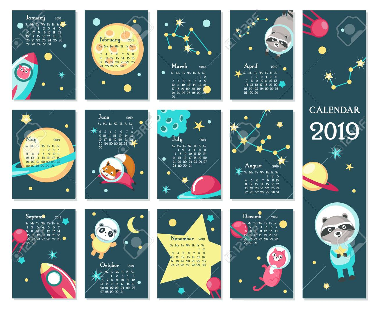 Year 2019 Calendar Vector Template. Yearly Calendar Showing Months.. throughout Cute Yearly Calendar Template