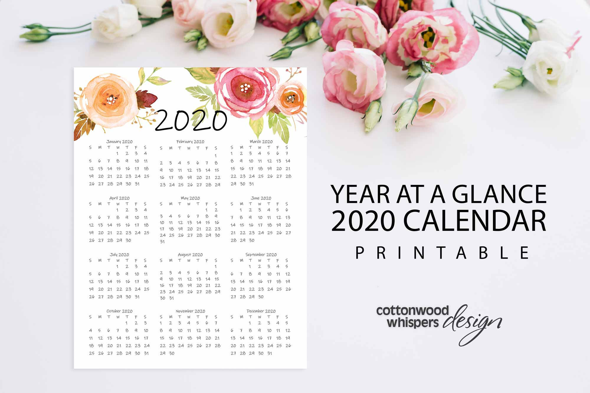 "Year At A Glance Calendar 2020 | Printable Calendar | Letter Size 8.5"" X  11"" 