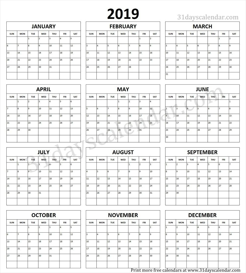 Year Calendar 2019 Printable One Page | Yearly Calendar 2019 In 2019 with regard to Blank Year Calendar On One Page