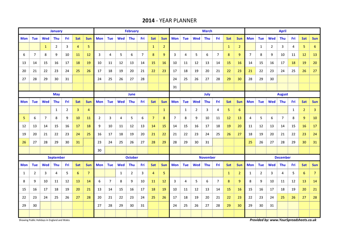 Year Planner for Year Planner Template Uk
