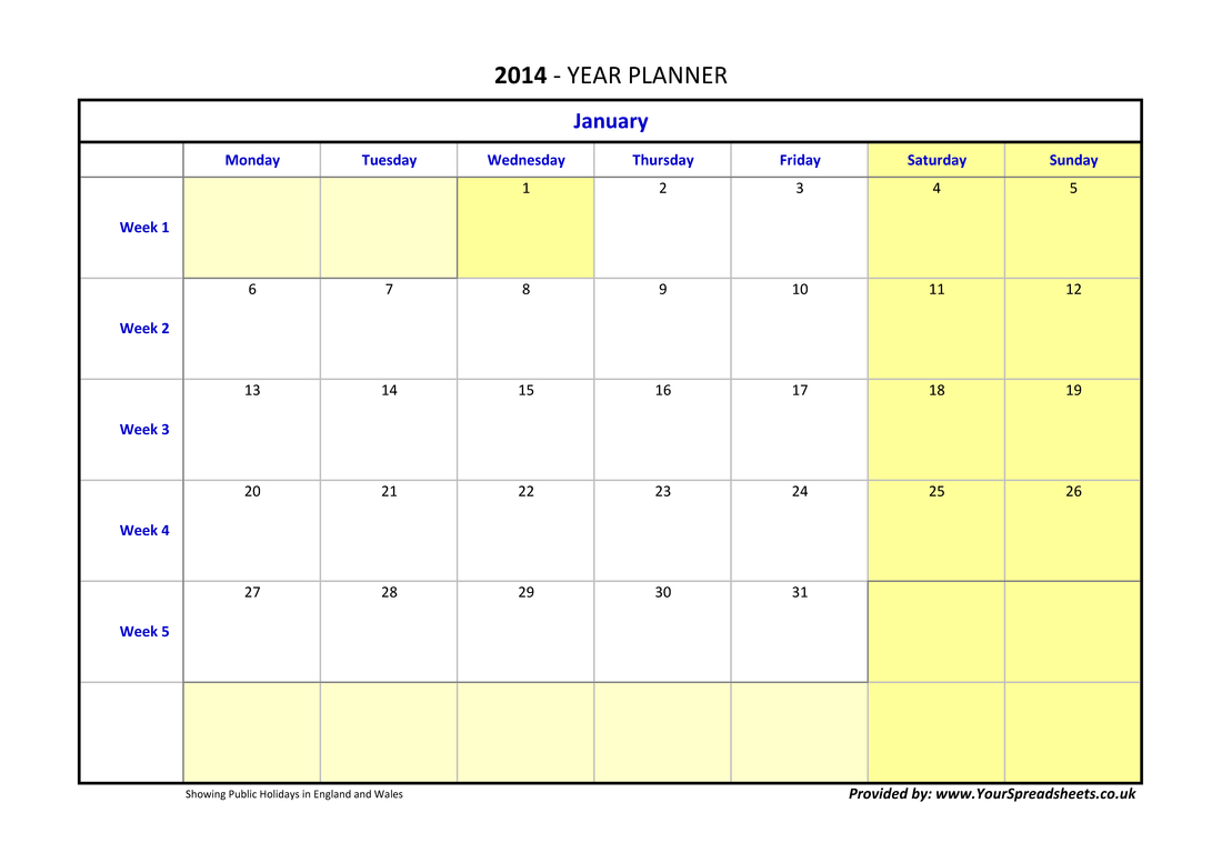 Year Planner inside Year Planner Template Uk