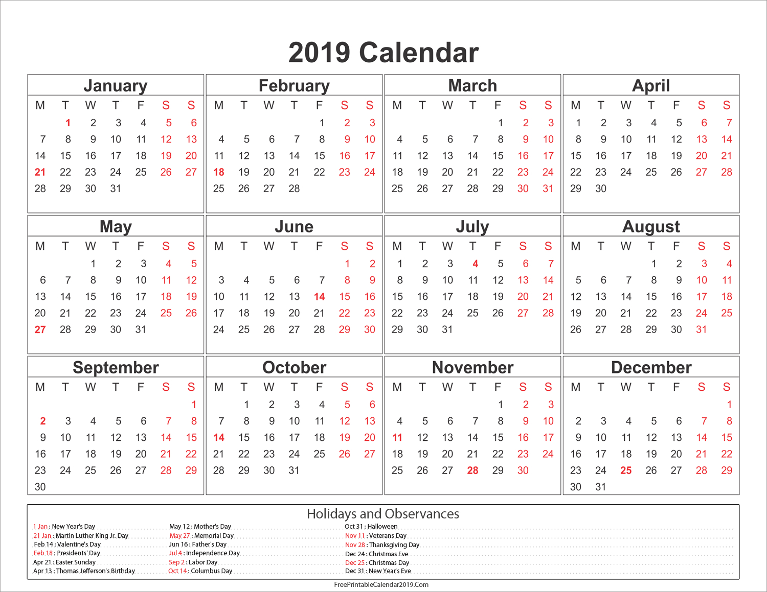 Yearly 2019 Calendar With Holidays #2019Calendar #2019Holidays #usa in 1 Page Calendar 2019-2020 With Major Holidays