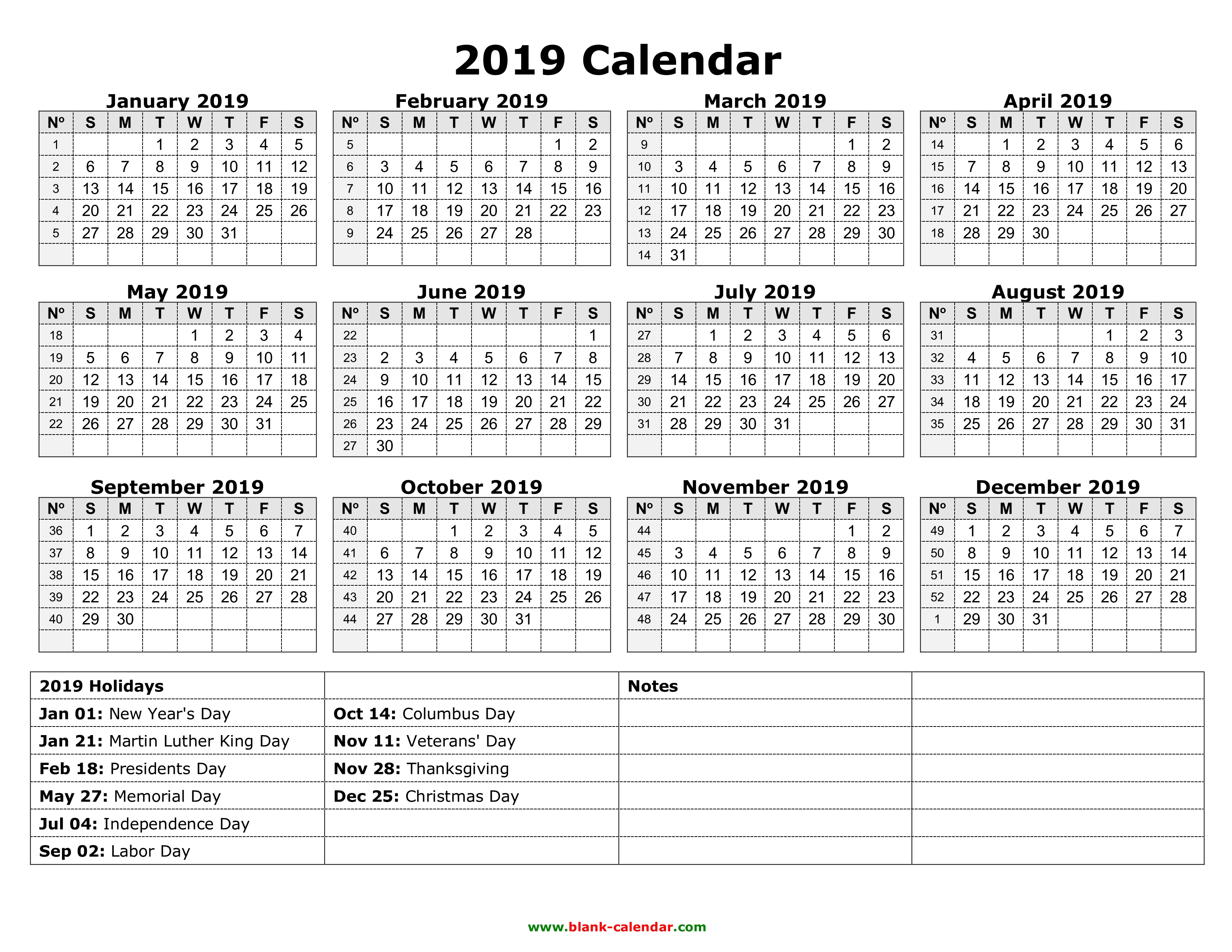 Yearly Calendar 2019 | Free Download And Print intended for Calendar 2019 2020 Free Download