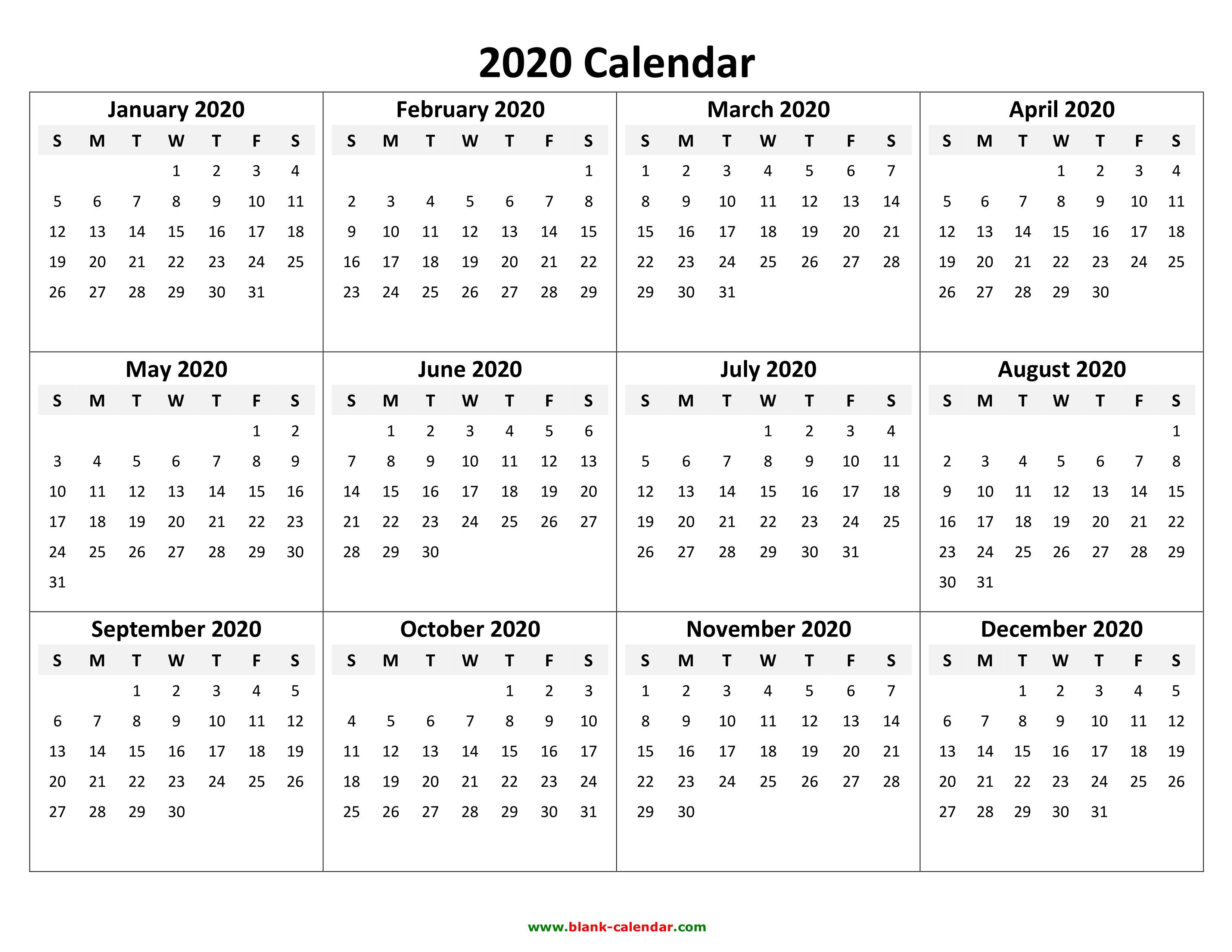 Yearly Calendar 2020 | Free Download And Print for Free Printable Calendar For 2020 With No Download