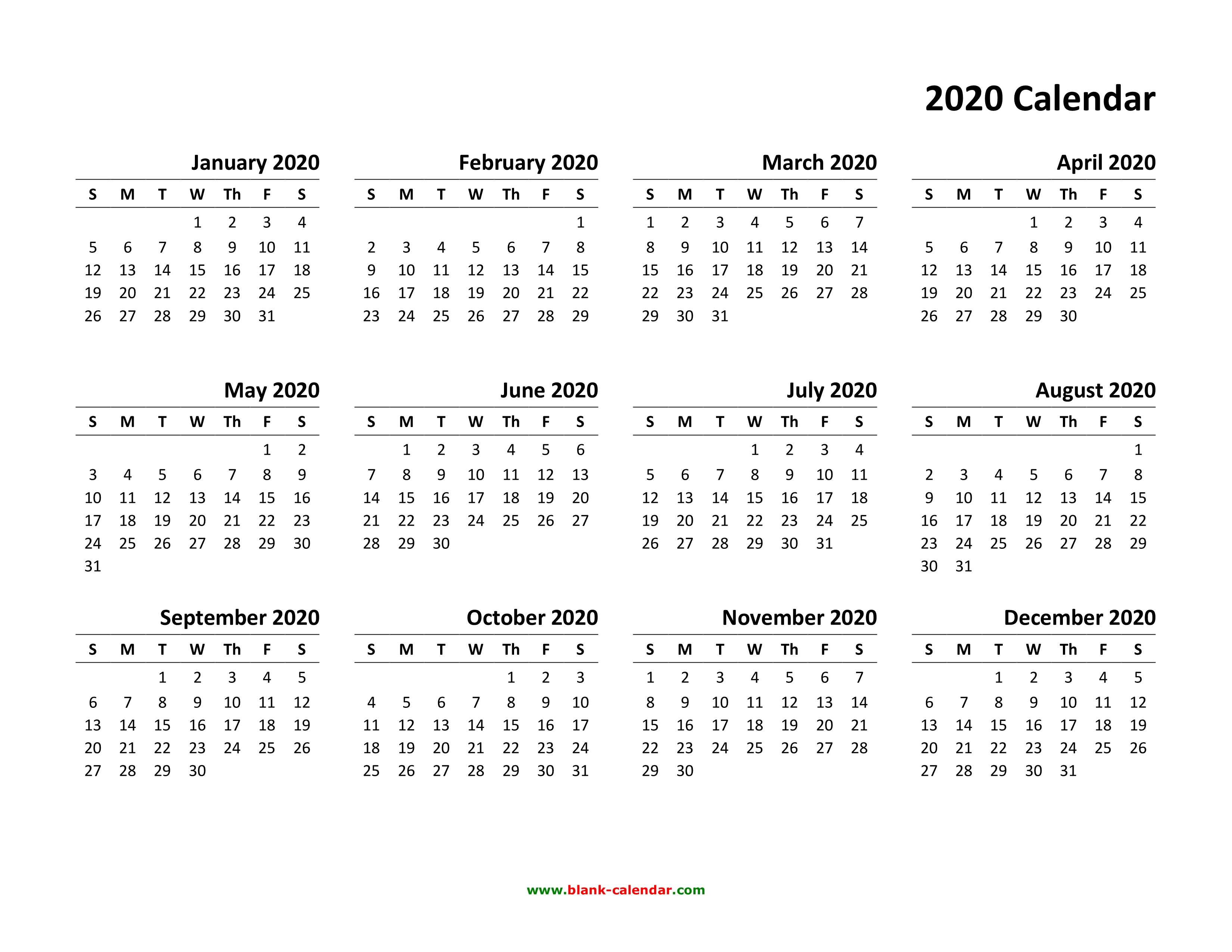 Yearly Calendar 2020 | Free Download And Print with Free Template 2020 Sunday To Saturday Calendar