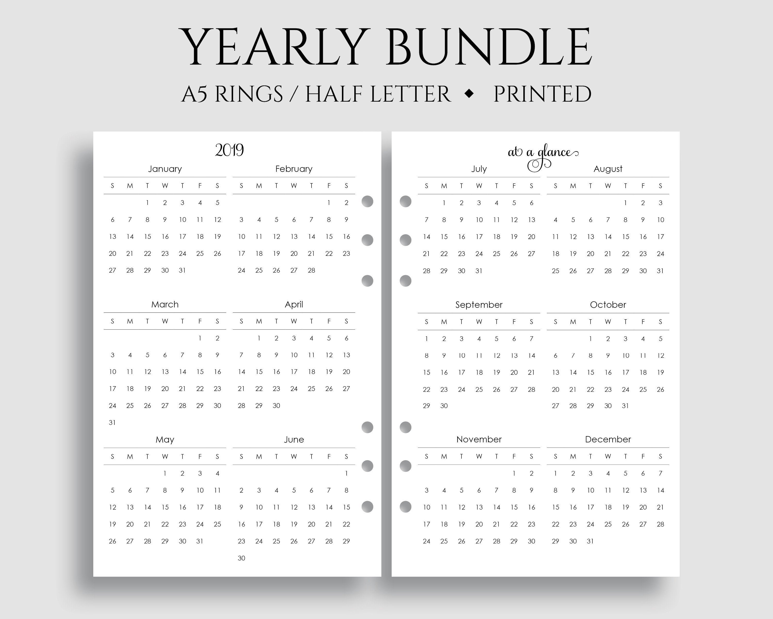 """Yearly Calendar Bundle, 2019 And 2020 Year-At-A-Glance, Dates To Remember,  U.s. Holidays ~ A5 Rings, Half Letter Size / 5.5"""" X 8.5"""" with 11 X 8.5 Calendar Pages 2020 Free"""