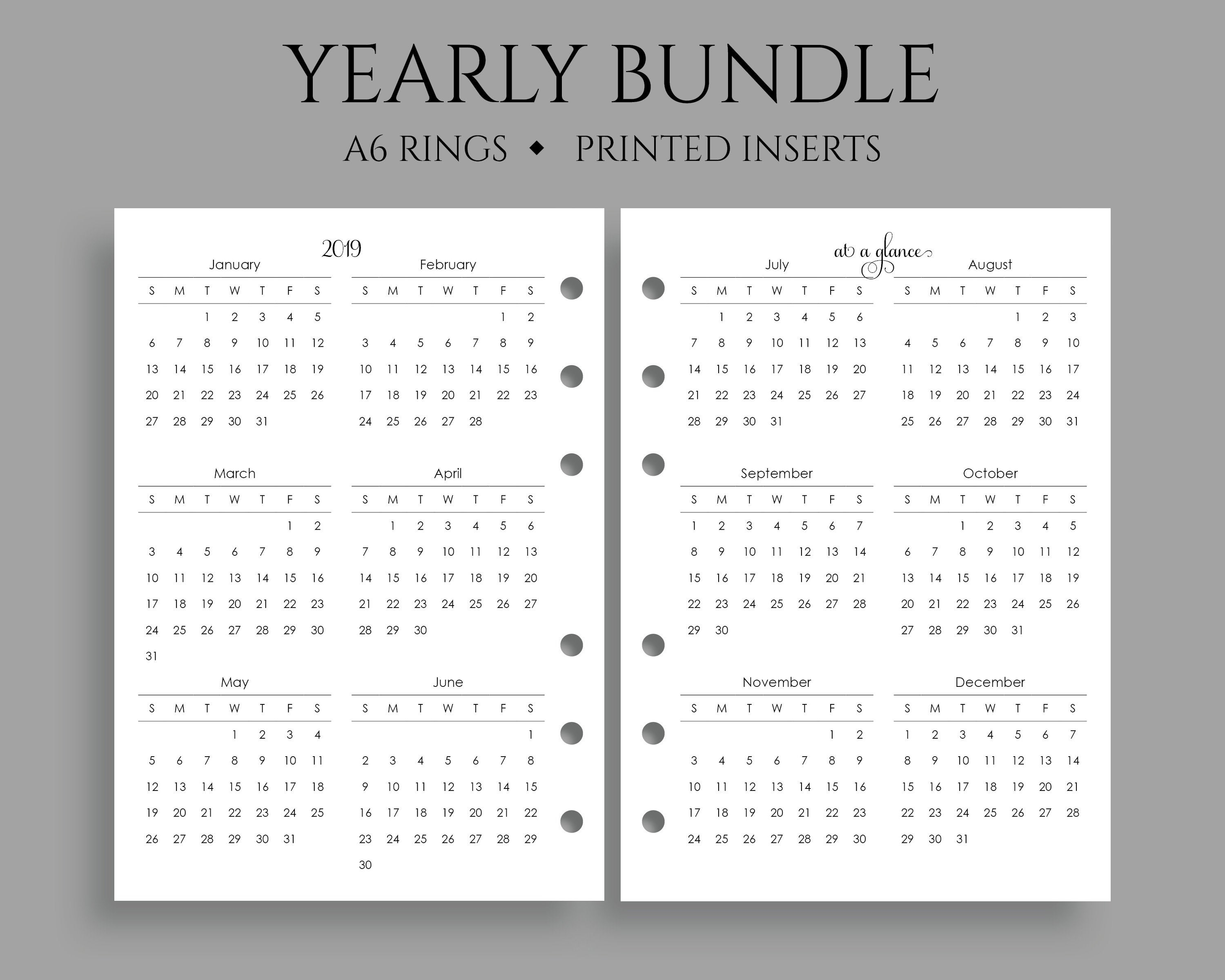 "Yearly Calendar Bundle, 2019 And 2020 Year-At-A-Glance, Dates To Remember,  U.s. Holidays ~ A6 Rings / 4.1"" X 5.75"" regarding Year At A Glance 2020"