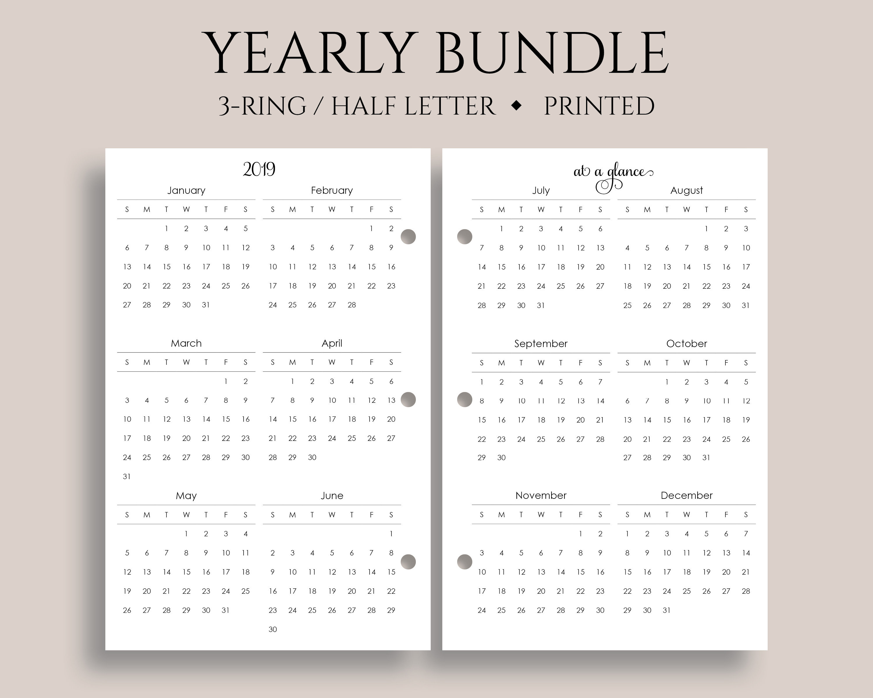 "Yearly Calendar Bundle, 2019 And 2020 Year-At-A-Glance, Dates To Remember,  U.s. Holidays ~ Half Letter Size 3-Ring / 5.5"" X 8.5"" pertaining to 2020 Calendar For 5.5 X 8.5"