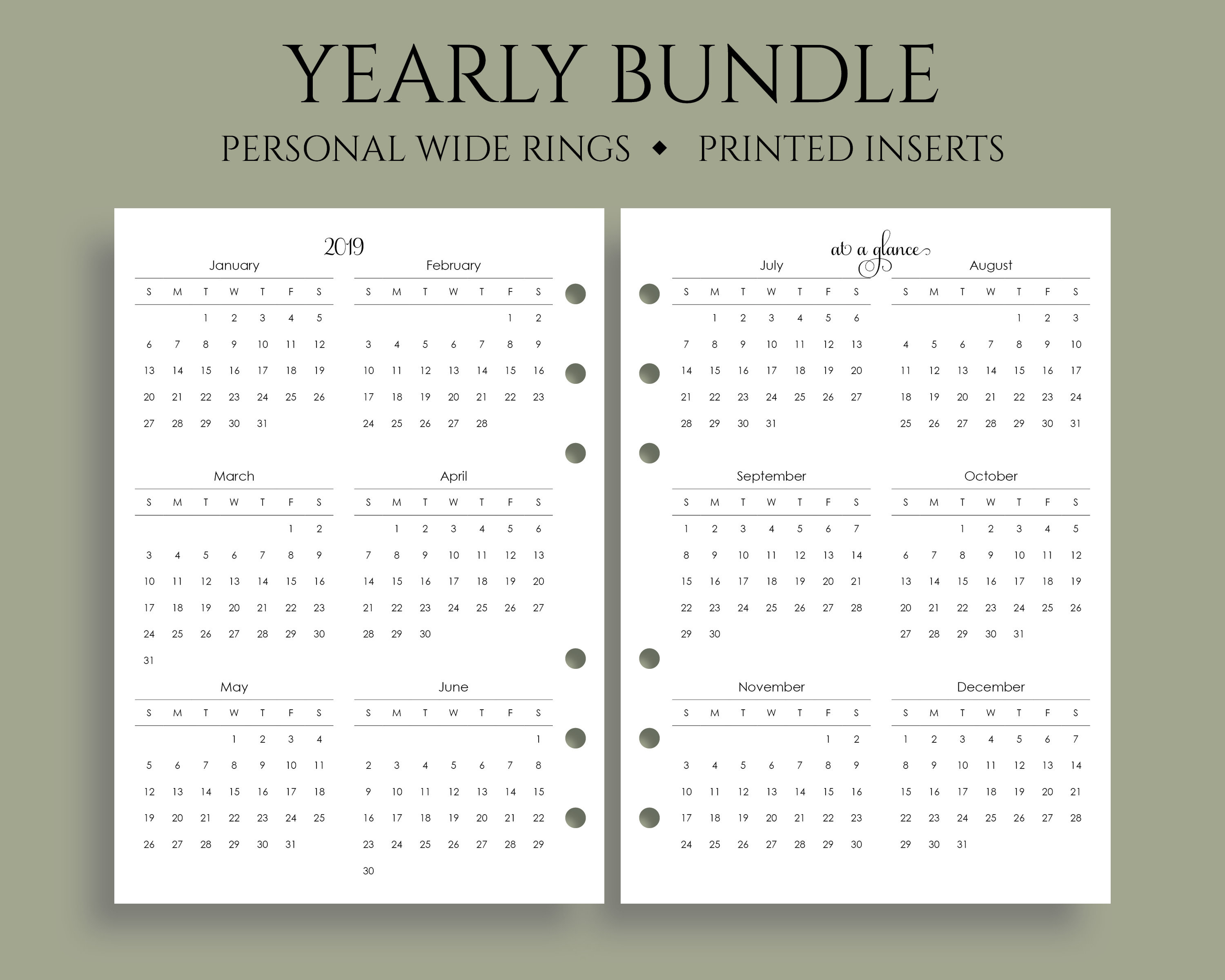 """Yearly Calendar Bundle, 2019 And 2020 Year-At-A-Glance, Dates To Remember,  U.s. Holidays ~ Personal Wide Rings / 4.75"""" X 6.75"""" with Free Yearly 5.5 X 8.5 Calendar 2020"""