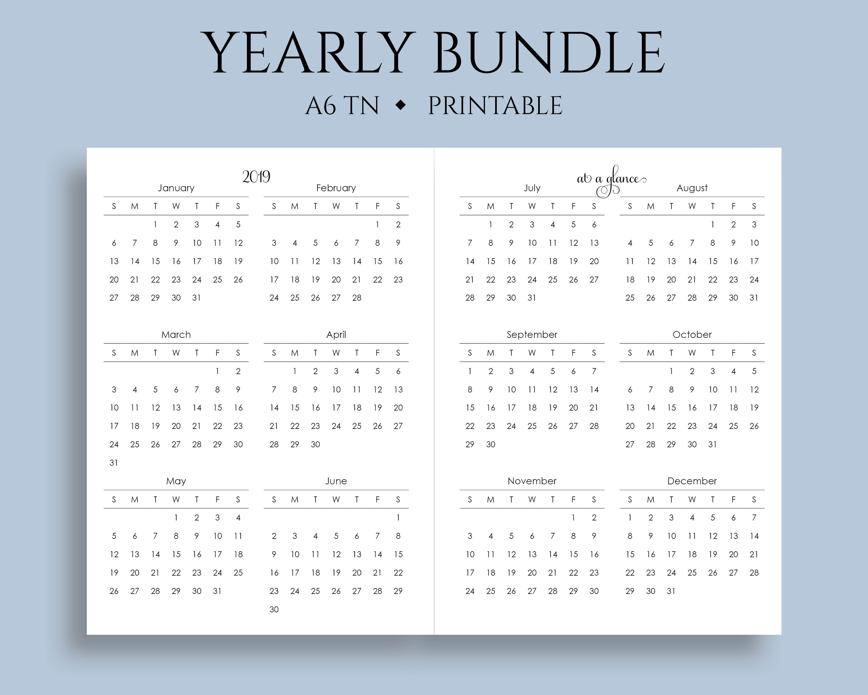 "Yearly Calendar Bundle Printable Planner Inserts, 2019 + 2020  Year-At-A-Glance, Important Dates ~ A6 Tn / No 3 / 4.1"" X 5.75"" Pdf Download intended for 8.5 X 11 Calander Filler For 2020"