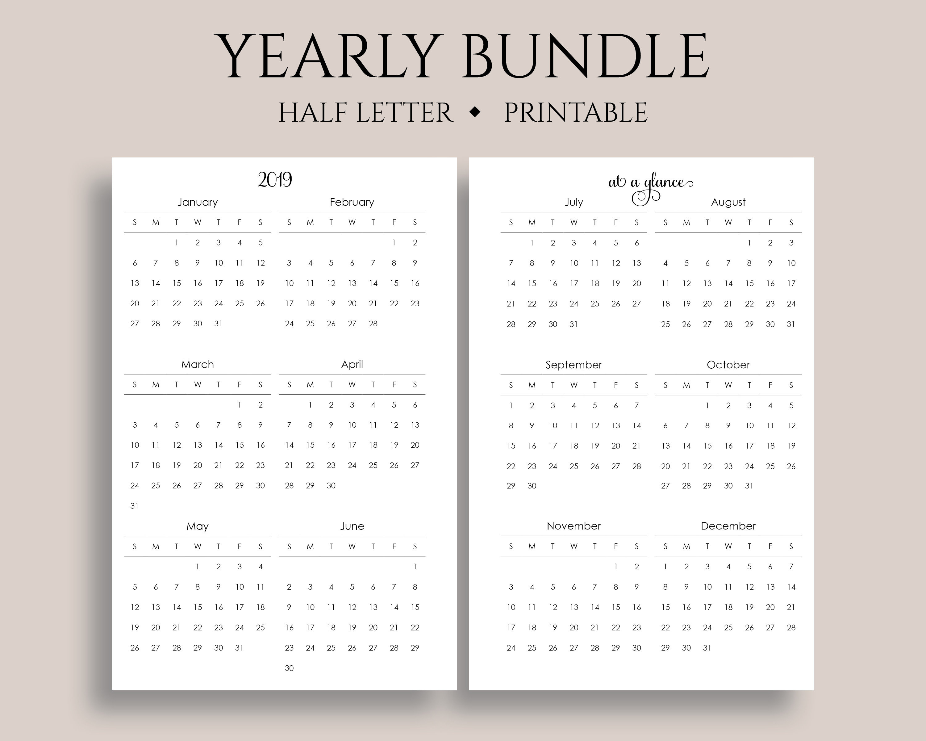 "Yearly Calendar Bundle Printable Planner Inserts, 2019 + 2020  Year-At-A-Glance, Important Dates ~ Half Letter / 5.5"" X 8.5"" Pdf Download inside 8.5 X 11 Calander Filler For 2020"