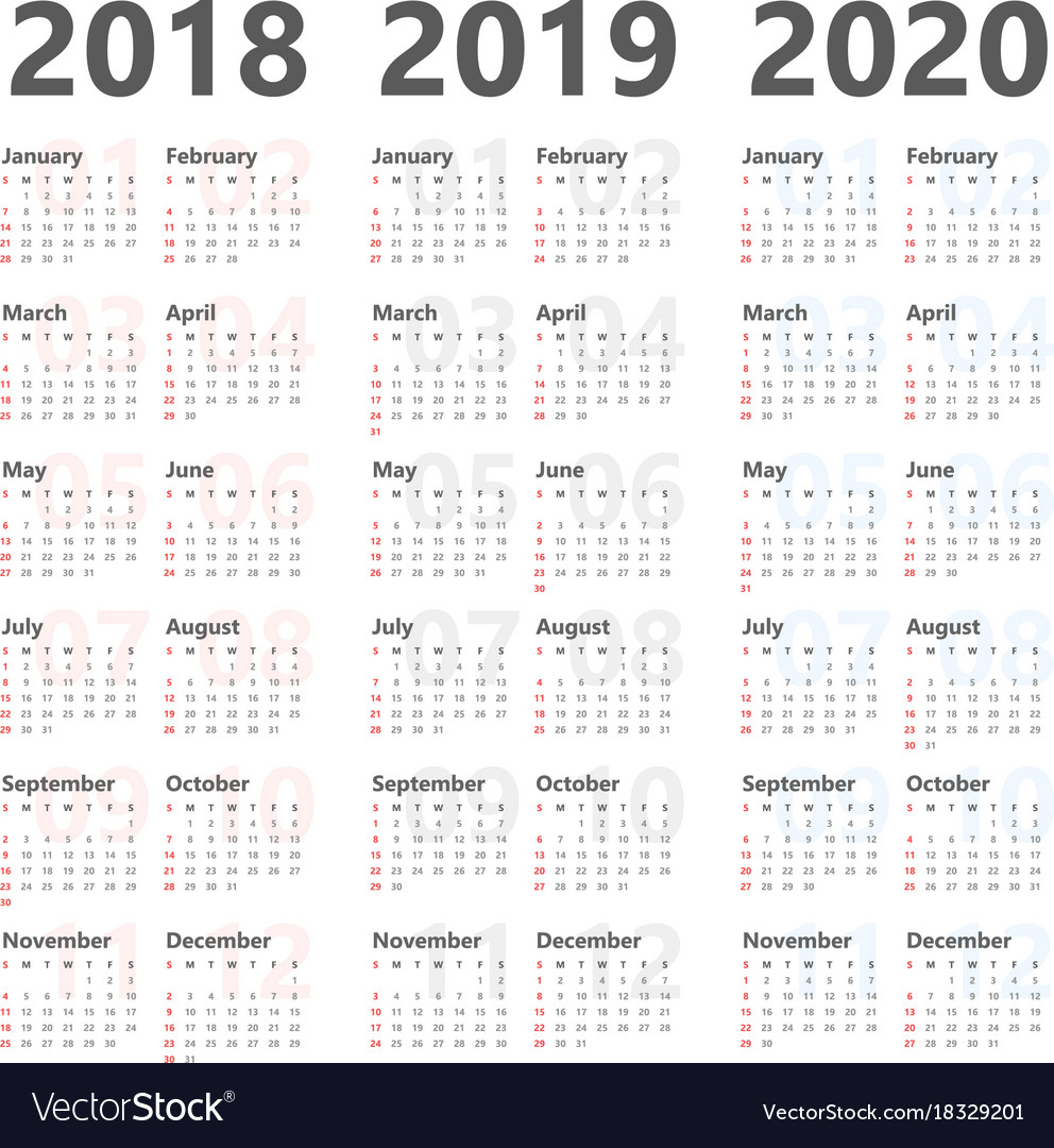 Yearly Calendar For Next 3 Years 2018 To 2020 within 3 Year Calendar Printable 2018 2019 2020