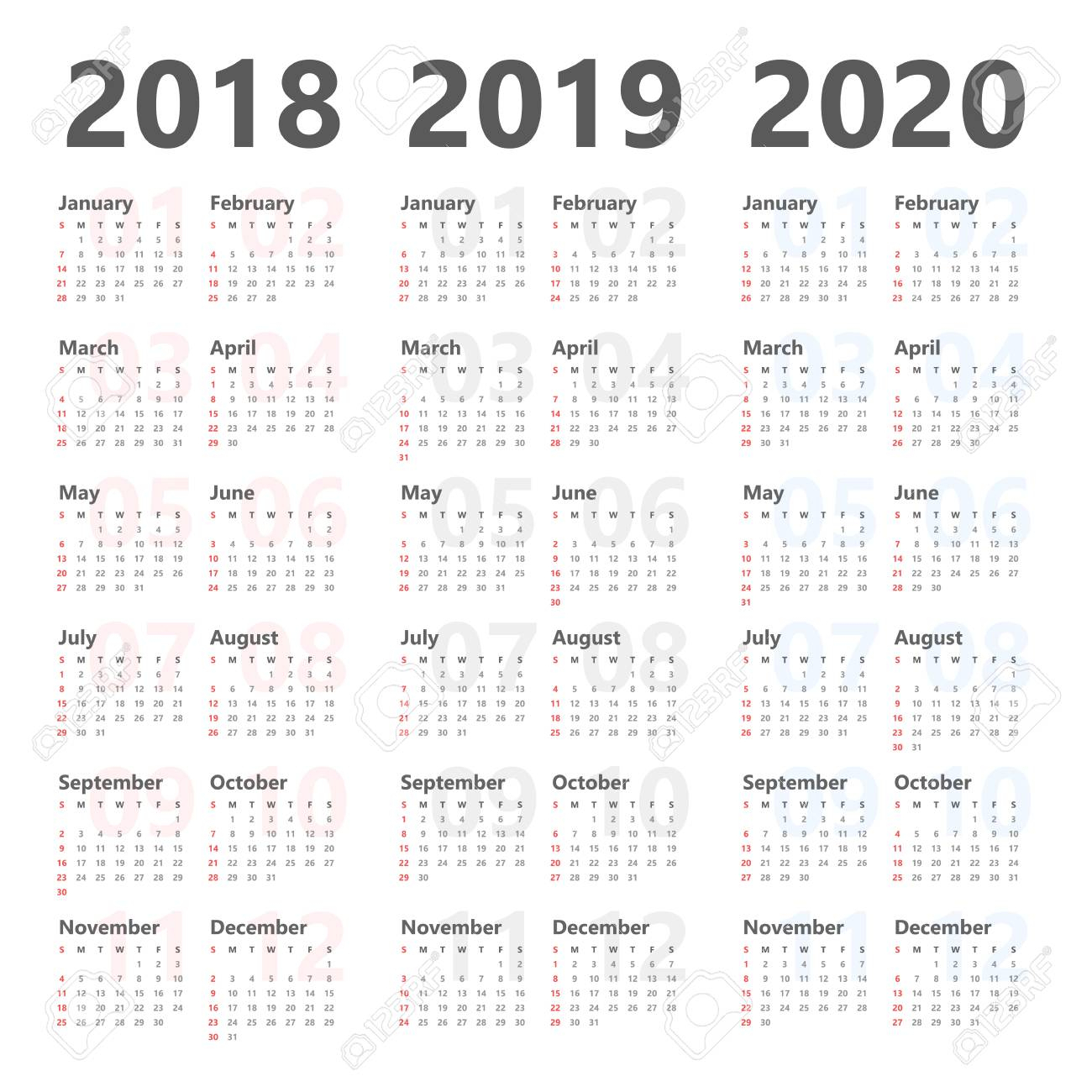 Yearly Calendar Template For 2018 To 2020. in Yearly Calendar 2020 With Boxes