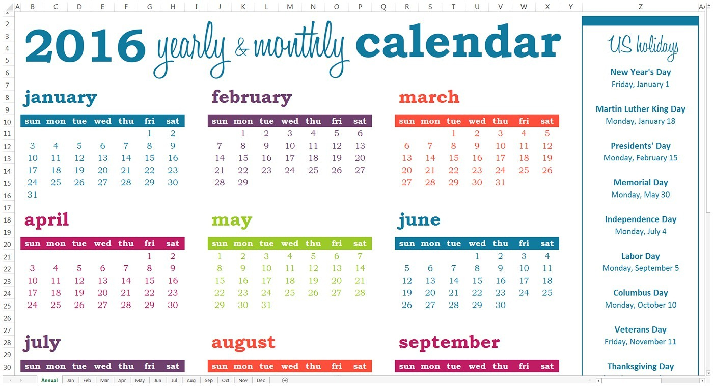 Yearly Events Calendar Activity Calendar Template Free 2018 Calendar within Yearly Event Calendar Template Excel