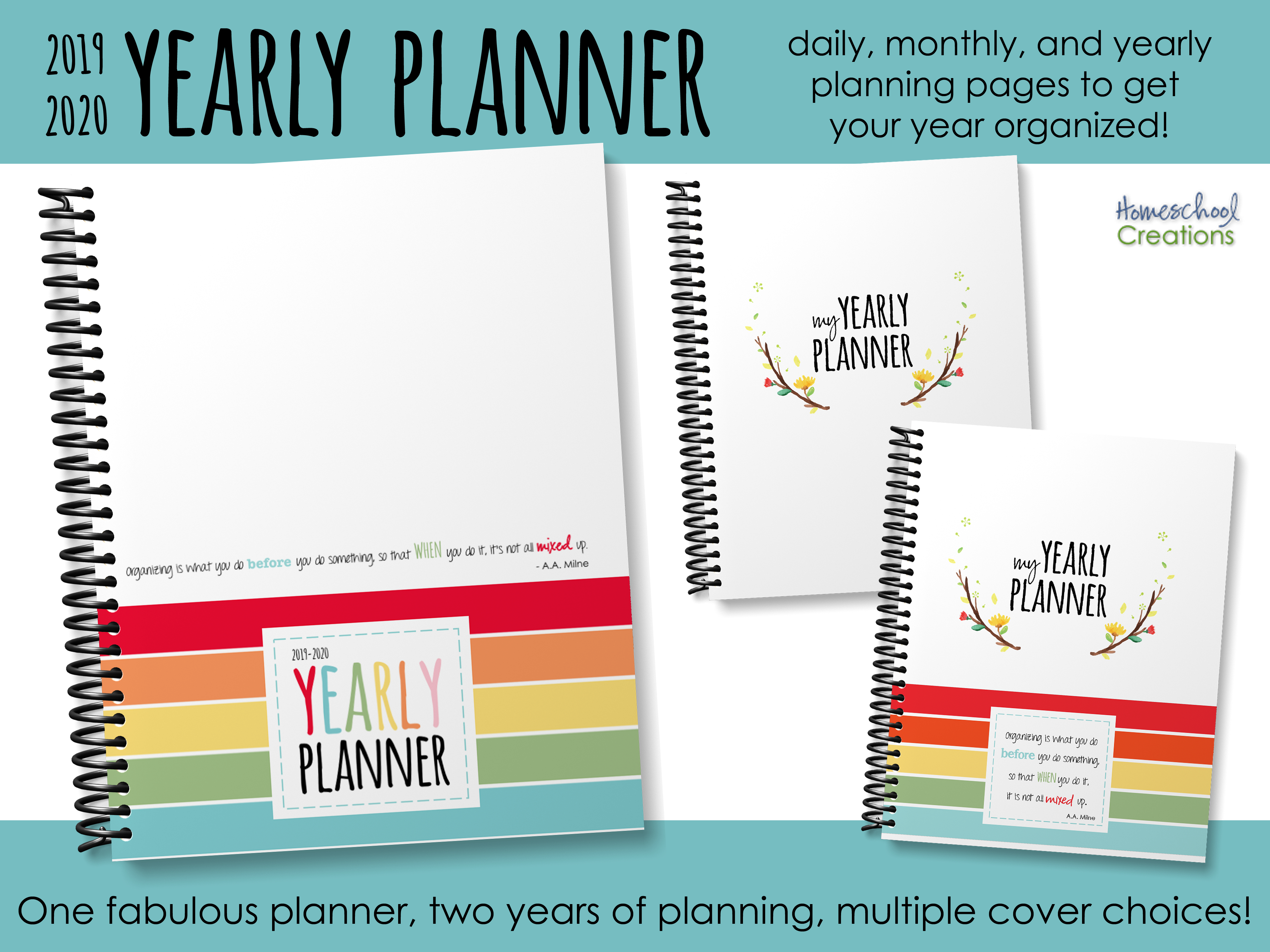 Yearly Planner - Organize Your Days for Homeschool Year At A Glance 2019-2020 Botanical Calendar Printable Free