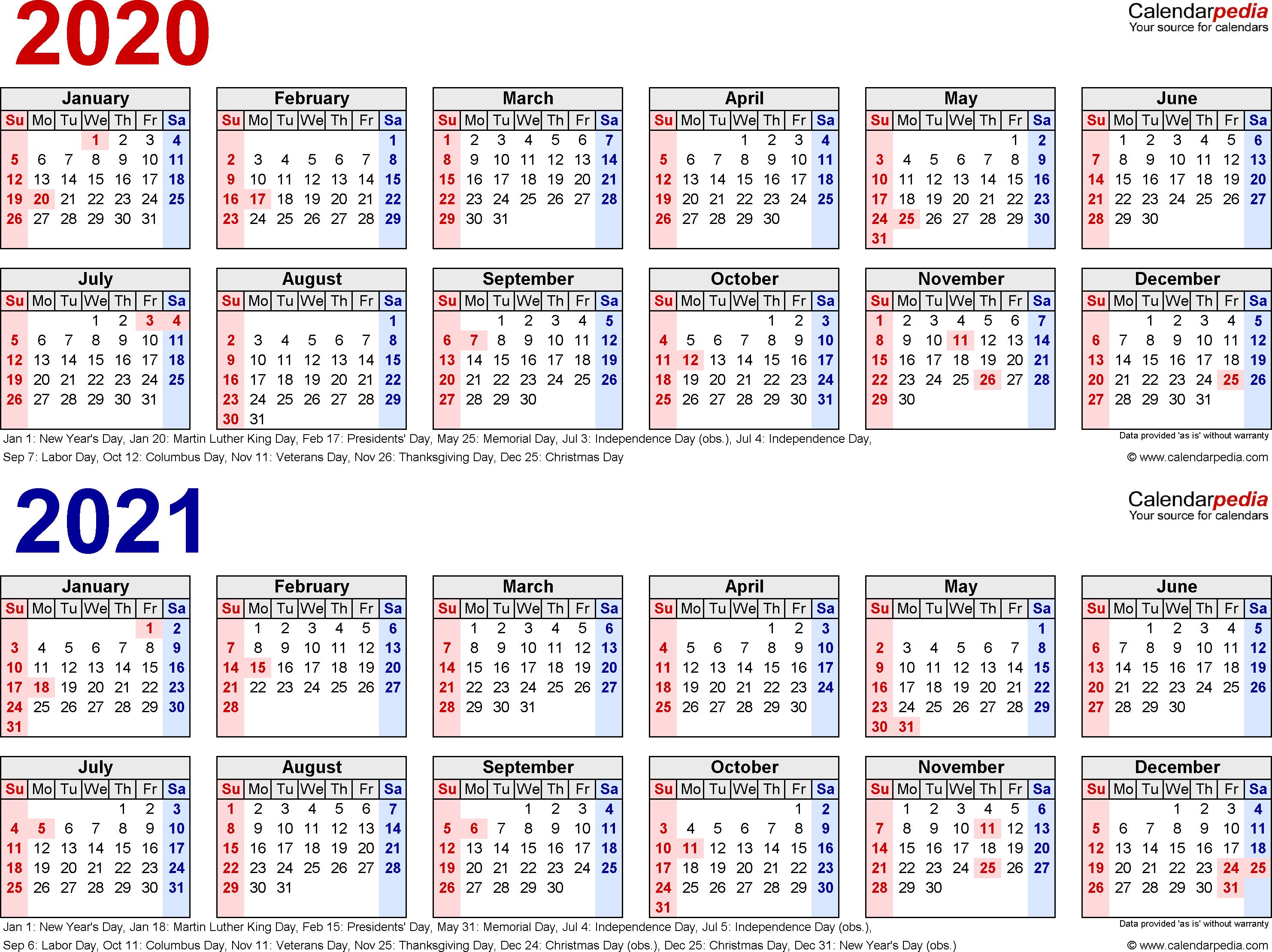 2 Year Calendar - Wpa.wpart.co for 2 Year Calendar Template 2020 2021
