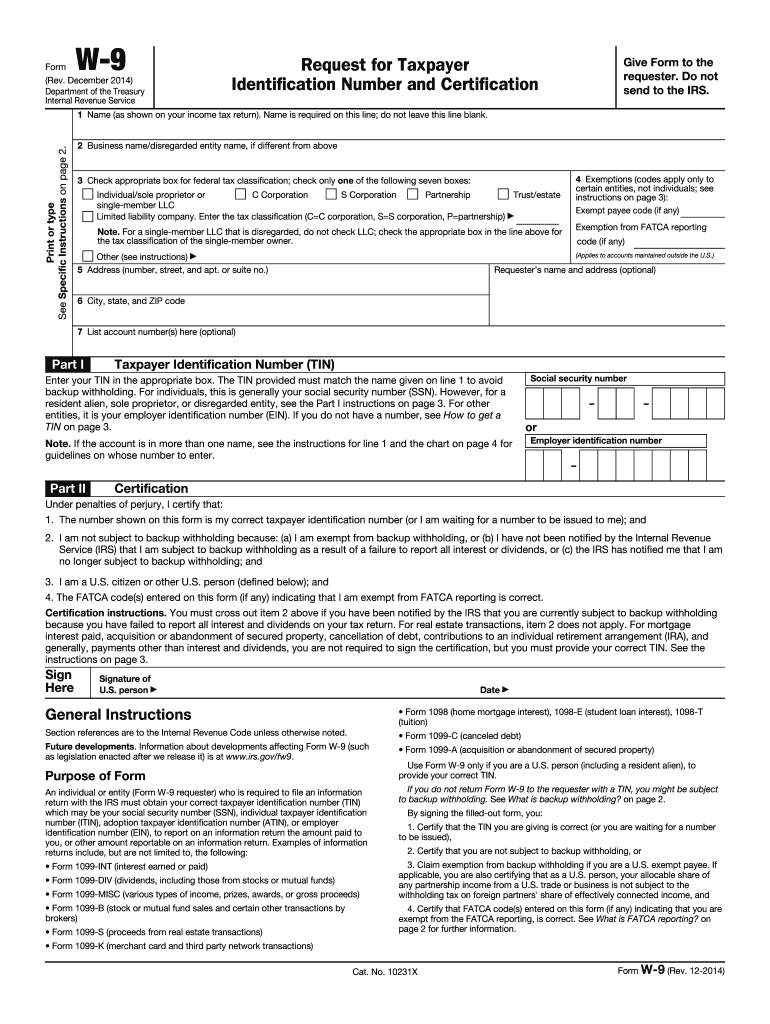 2014 Form Irs W-9 Fill Online, Printable, Fillable, Blank with Blank W 9 Printable Form Template