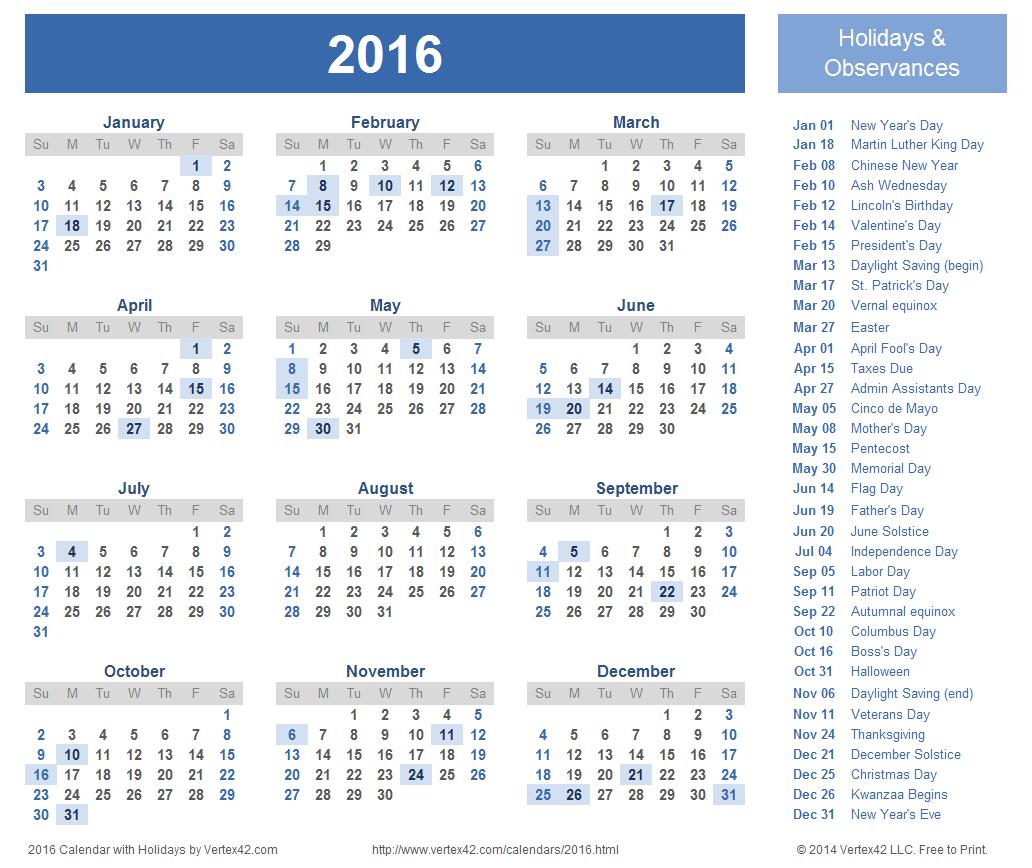 2015 And 2020 Calendar Printable With Holidays - Wpa.wpart.co within 2020 Calendar With Holidays Printable Free