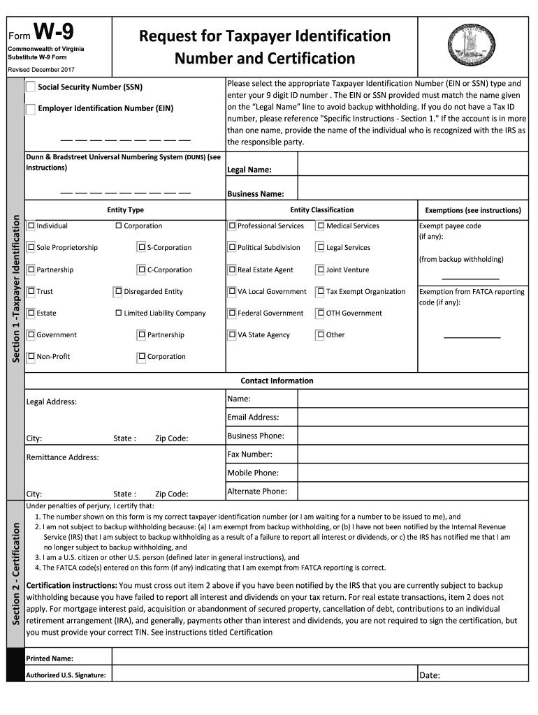 2017-2020 Form Va Substitute W-9 Fill Online, Printable regarding 2020 W-9 Form