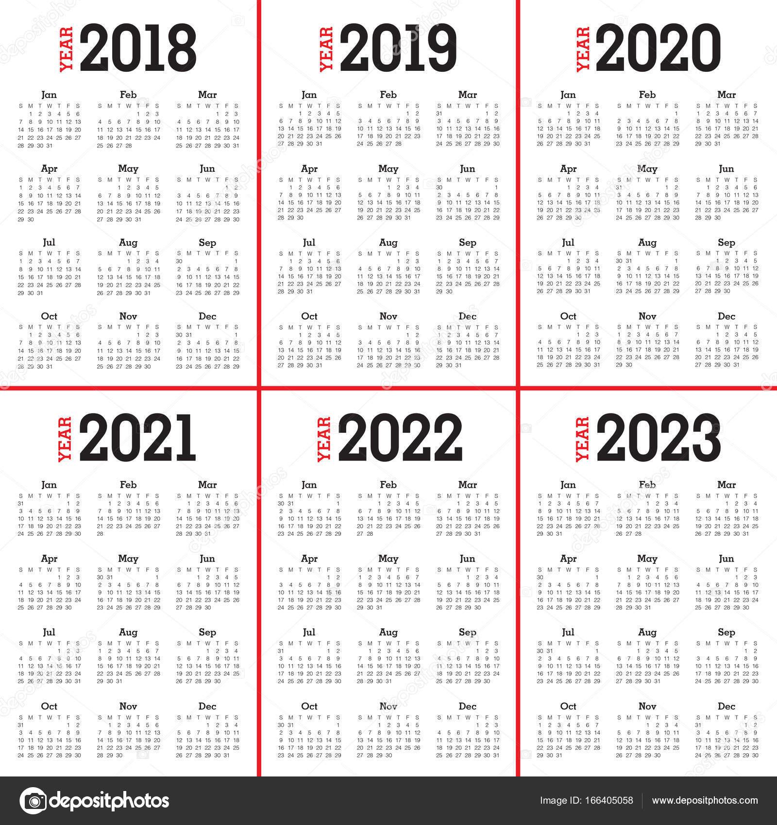 2018 2019 2020 2021 2022 2023 Года Календарь Вектор throughout Three Year Calendar 2020 2021 2022