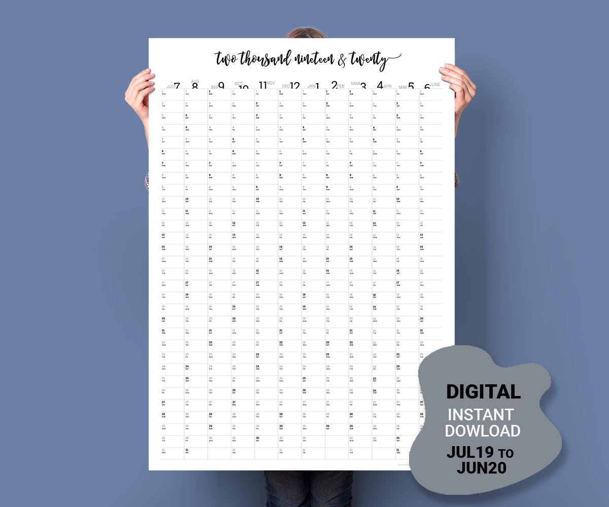 2019-20 Vertical Calendar (July - June) in 2020 Calendar Vertical