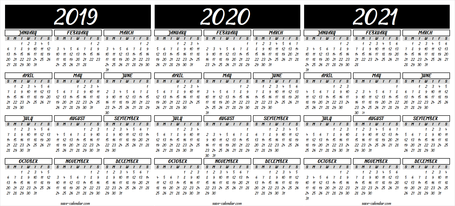 2019 2020 2021 Calendar Printable | 2021 Calendar, Free inside 2 Year Calendar Template 2020 2021