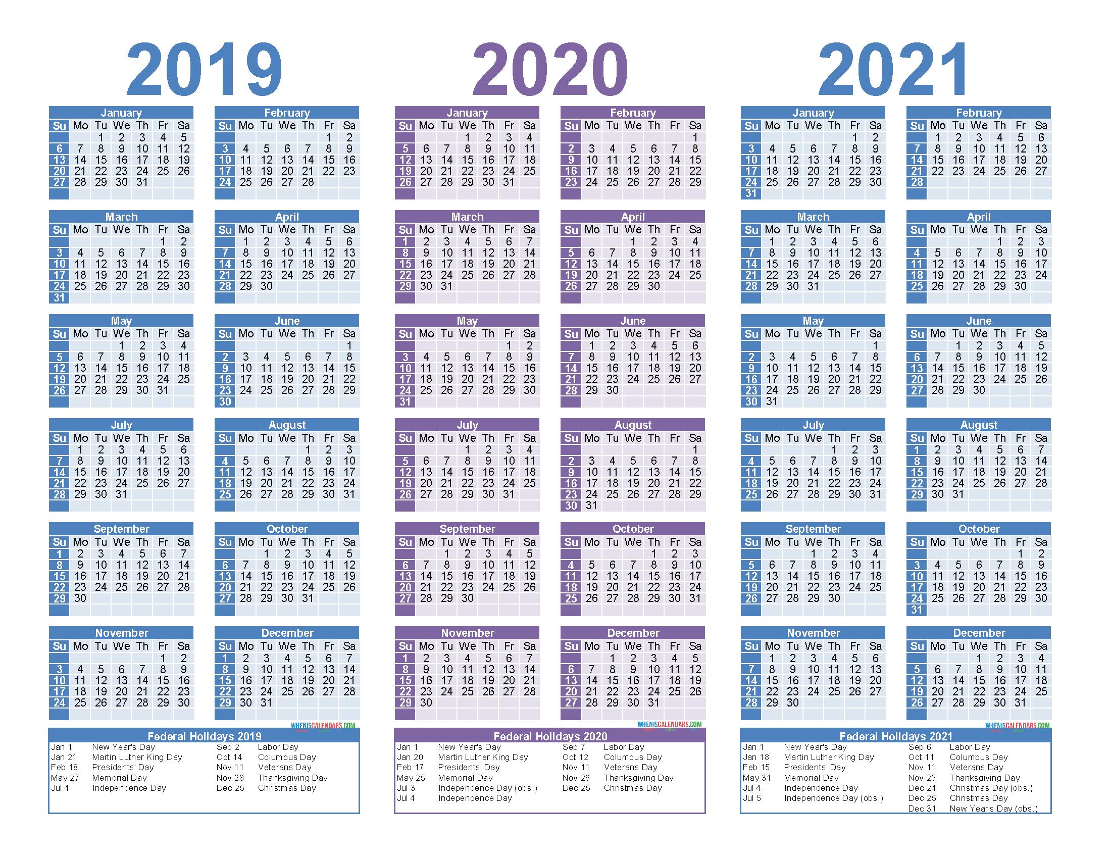 2019 2020 2021 Free Calendar Template 3 Year Calendar within 2 Year Calendar Template 2020 2021
