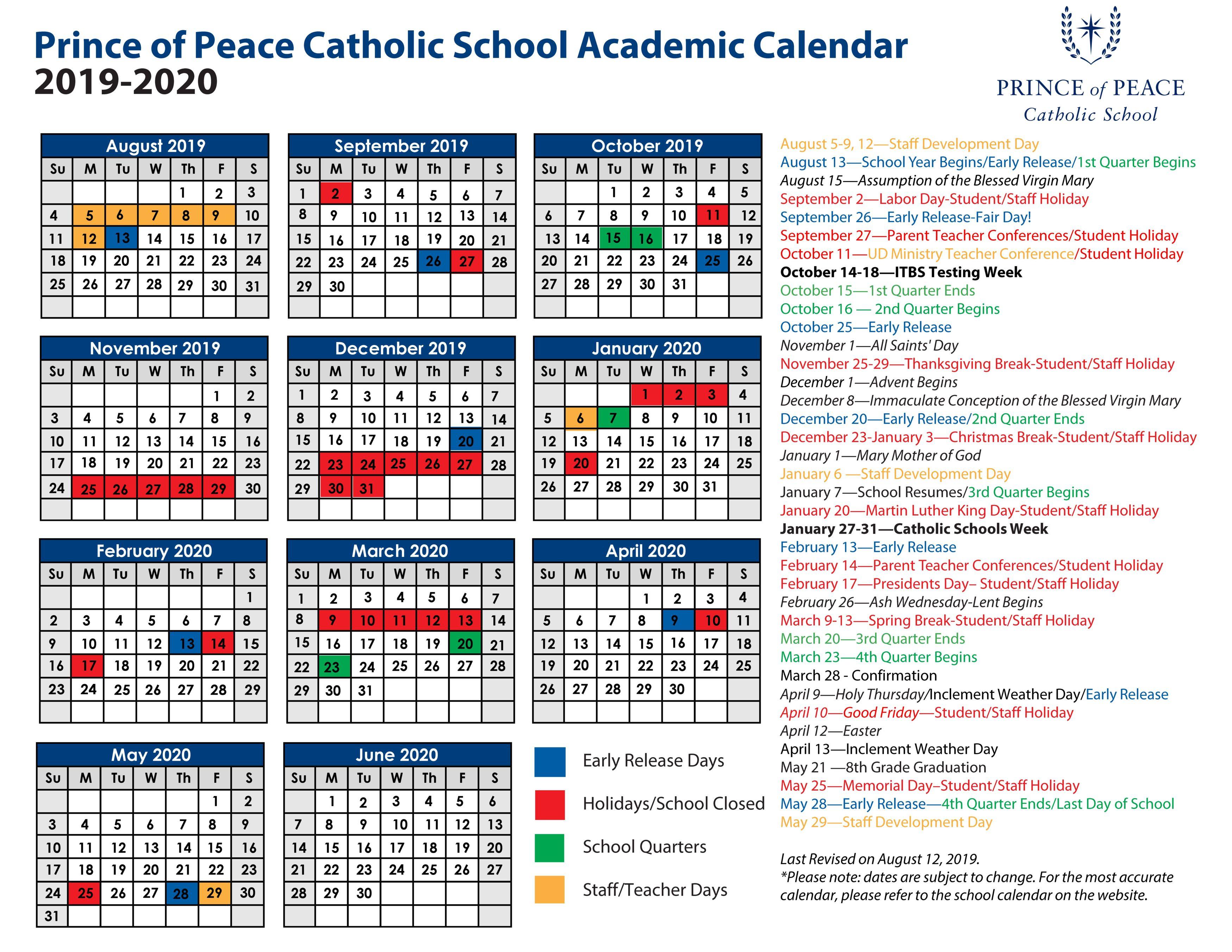 2019 - 2020 Academic Calendar - Prince Of Peace Catholic School regarding 2020 Catholic Liturgical Calendar Pdf