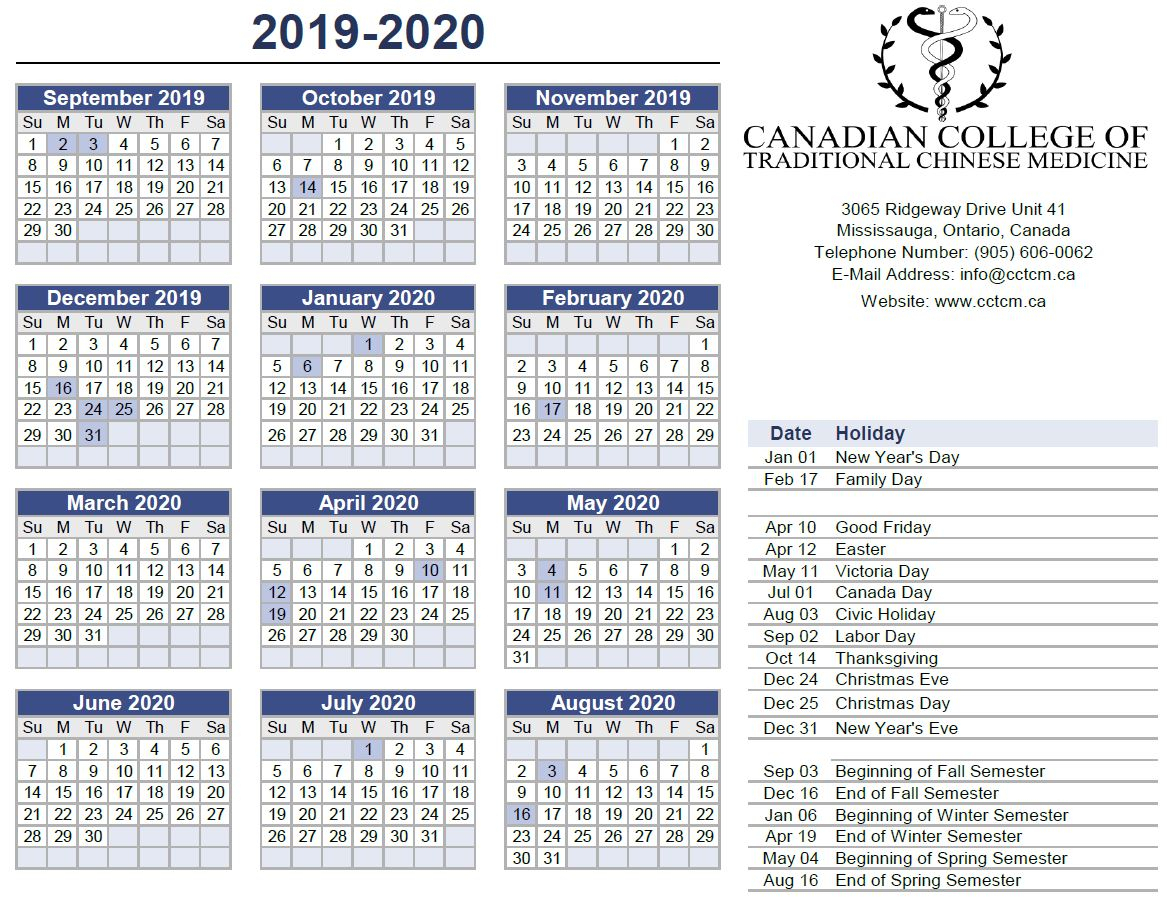2019-2020 Calendar | in Yrdsb Calendar 2020