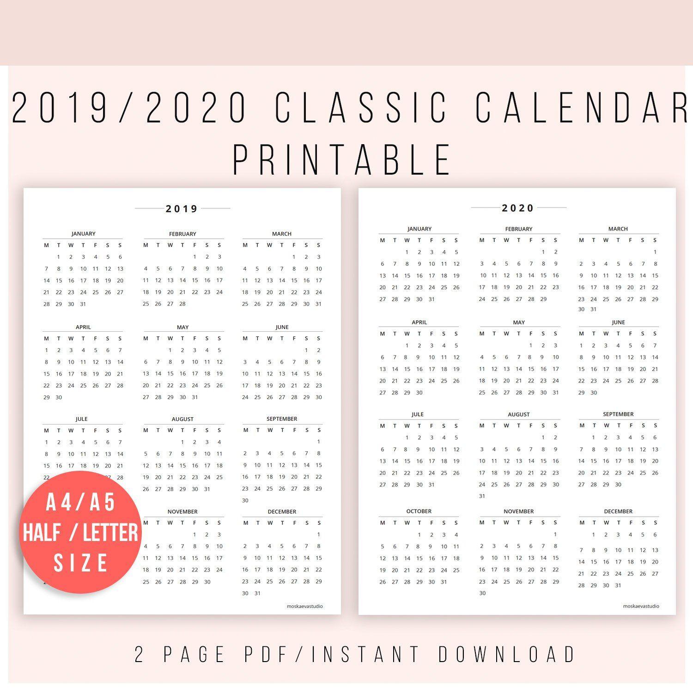 2019 Calendar Printable | Calendar 2020 | Calendar Print inside Half Page 2020 Calender
