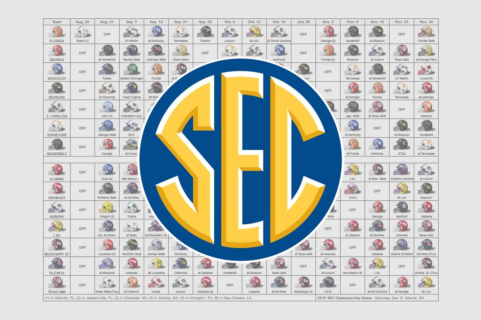 2019 Sec Football Helmet Schedule for Free Printable Nfl Season Schedule