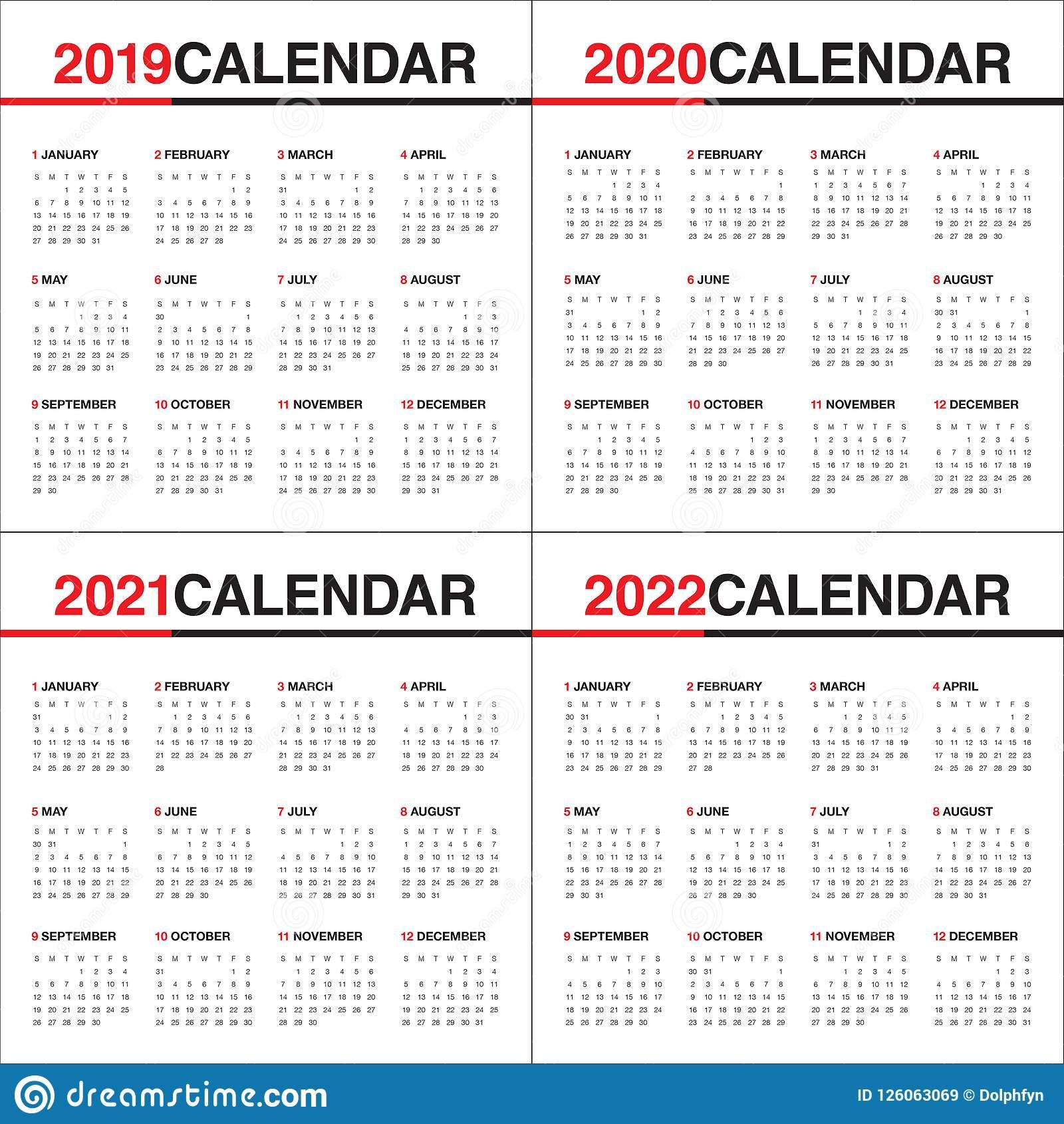 2019 To 2022 Calendar inside Free Printable Calendar 2020-2022