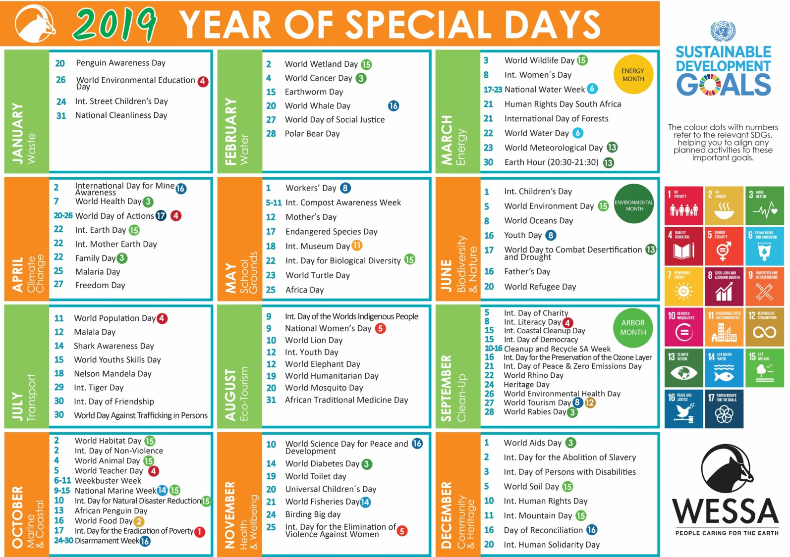 2019 Wessa Special Day Calendar – Wessa with Ander Of Special Days Of 2020