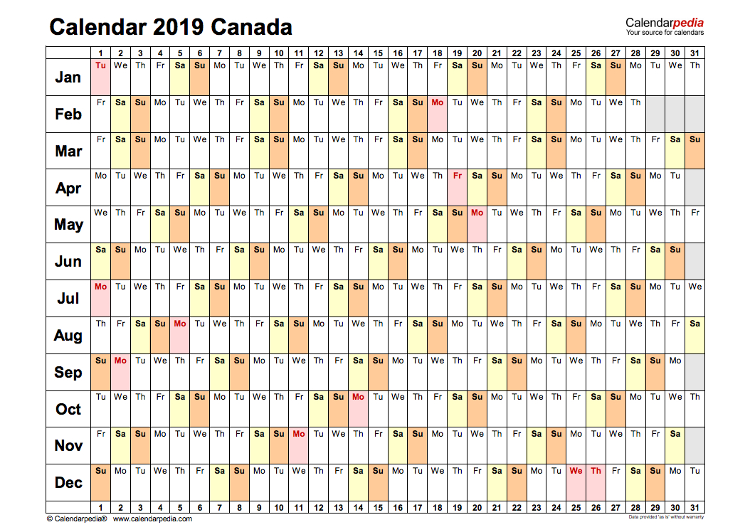 2019 Yearly Calendar For Canada - Holidays, Pdf, Word, Excel inside Printable Canadian Calendar With Holidays