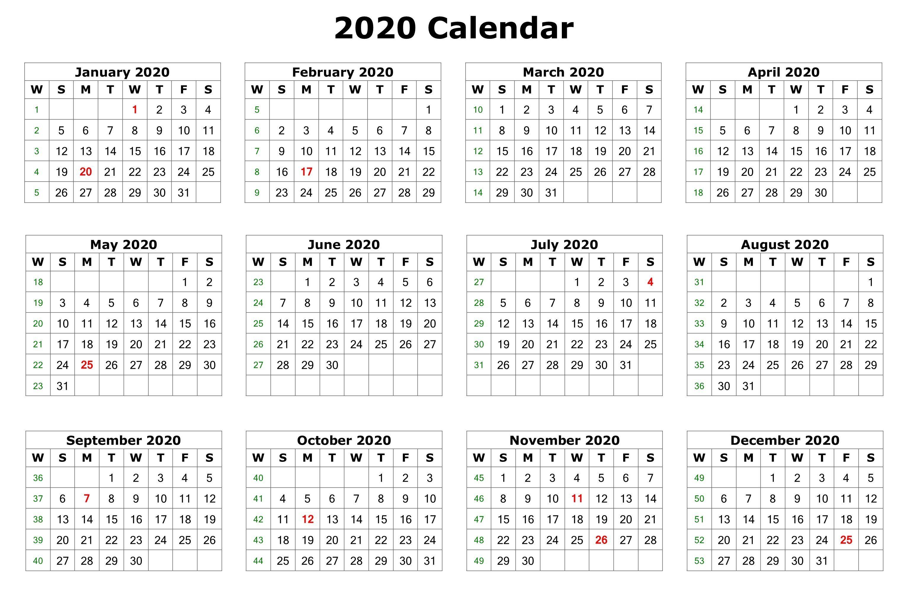 2020 12 Months Calendar Printable | Printable Calendar 2020 in 2020 Printable Calendar All Months