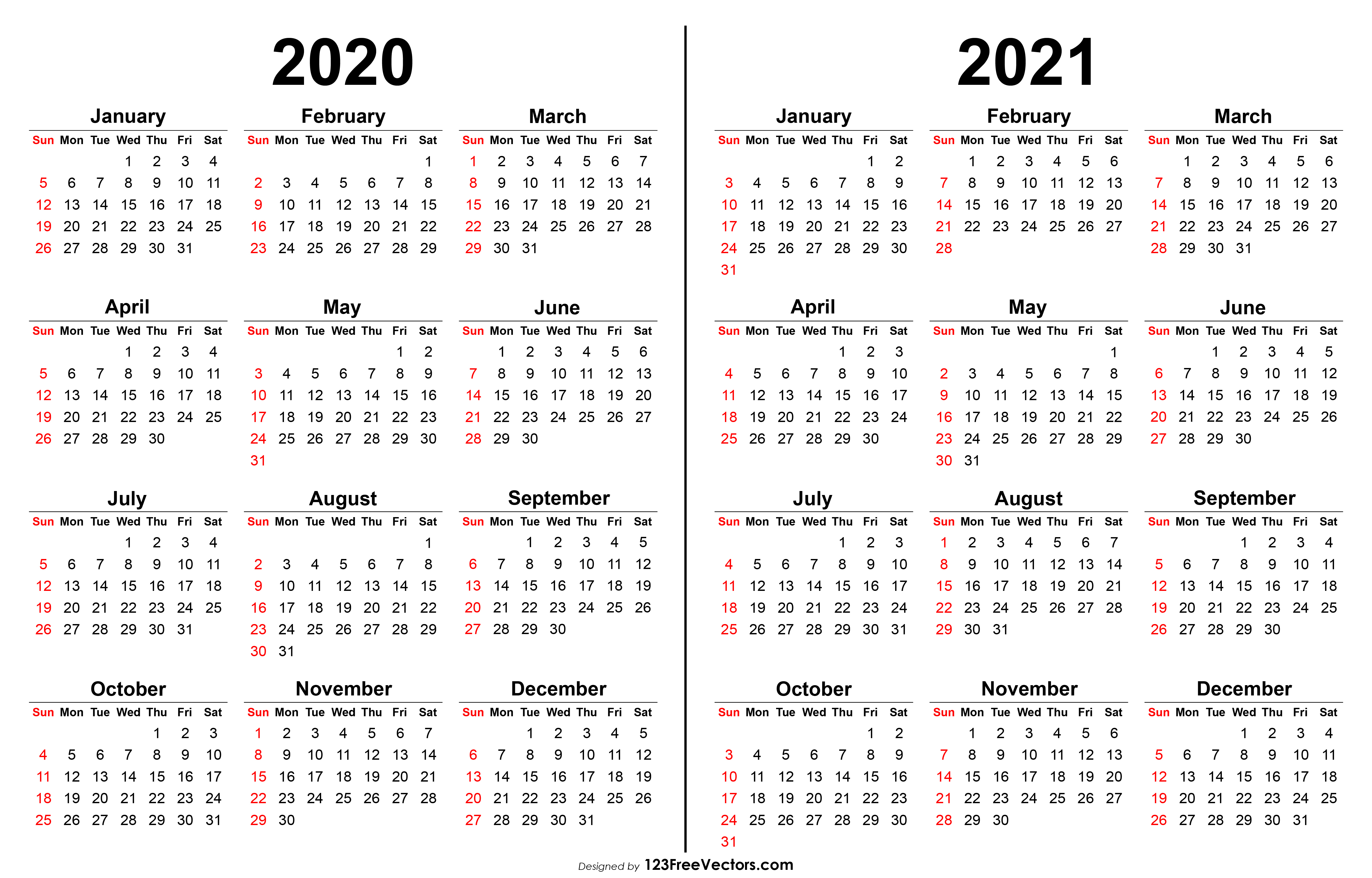 2020 2021 Calendar with 2021 Printable Calendar Free