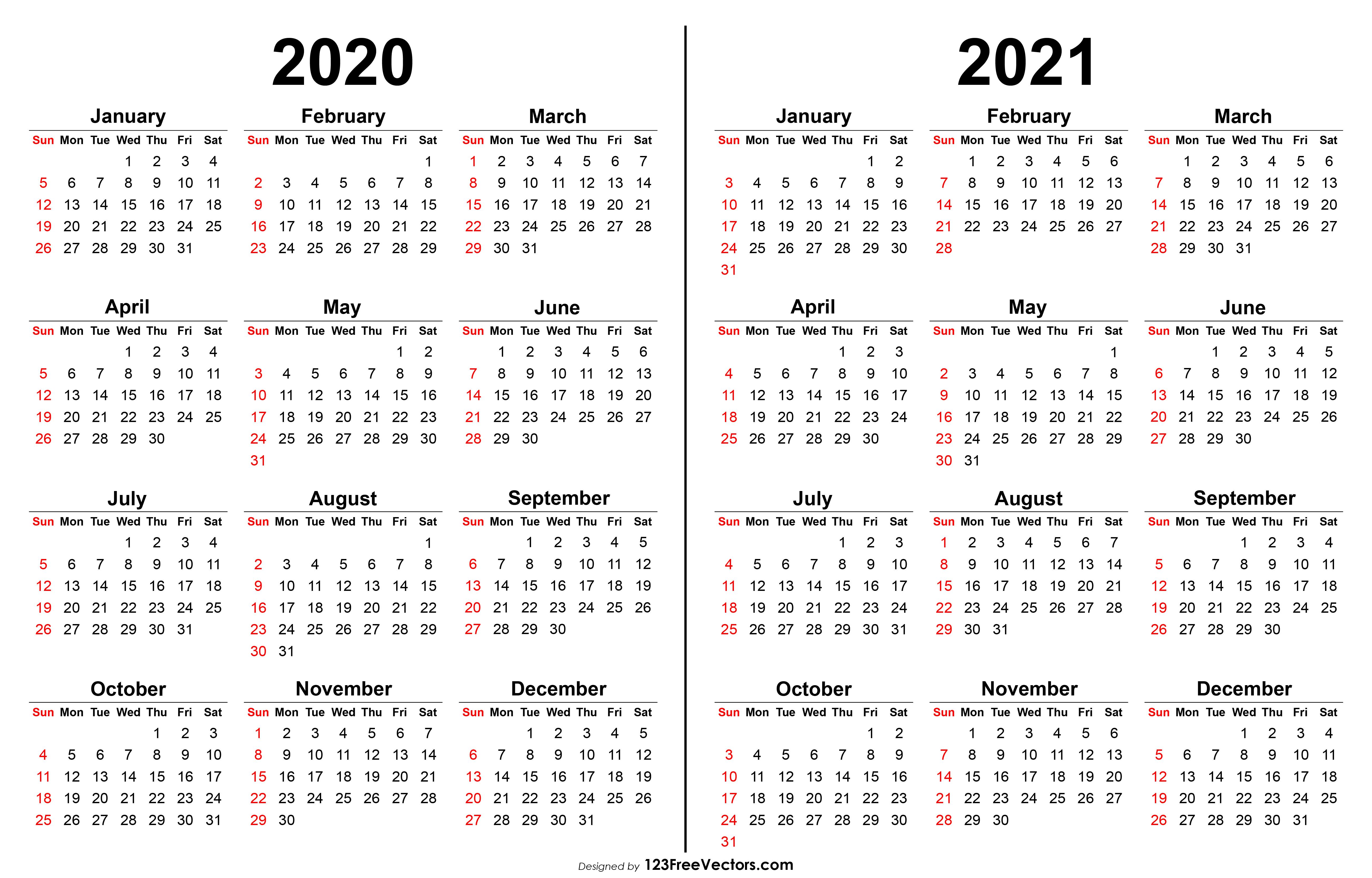 2020 2021 Calendar with regard to 2 Year Calendar Template 2020 2021