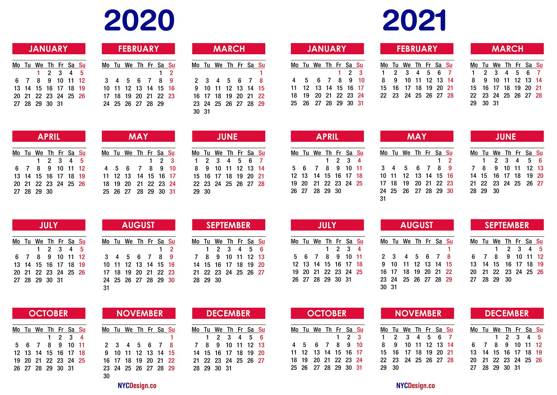 2020 – 2021 Two Year Calendar Printable Free – Nycdesign.co inside 2 Year Calendar Template 2020 2021