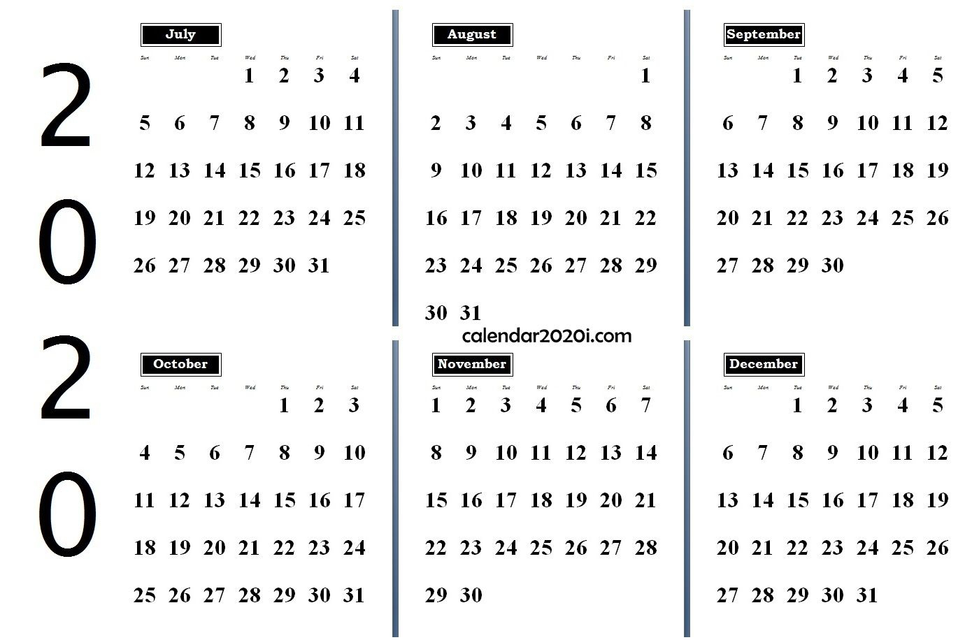 2020 6 Months Calendar From July To December | Monthly within October To December 2020 Calendar