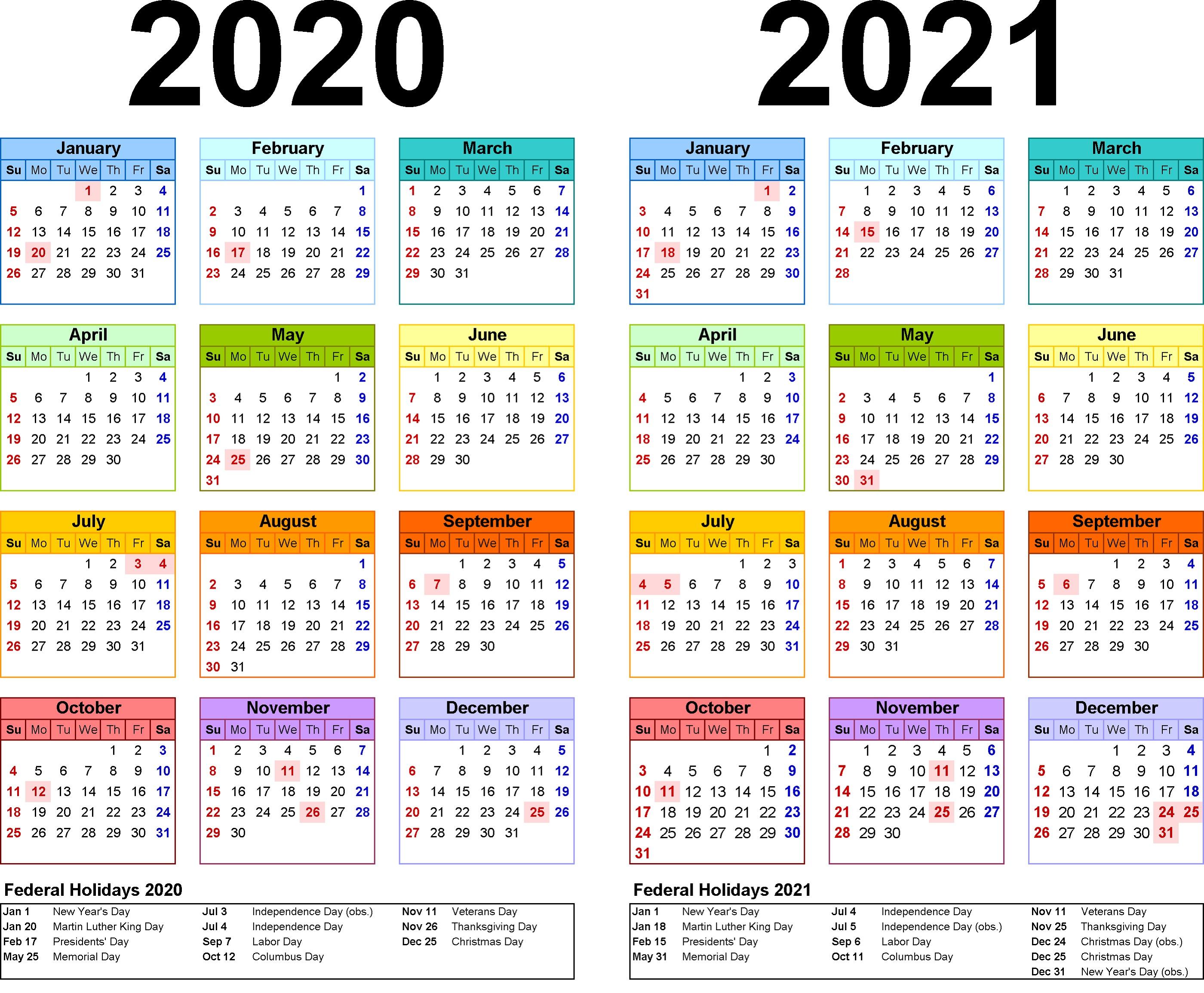 2020 Academic Calendar Template - Wpa.wpart.co with 2 Year Calendar Template 2020 2021